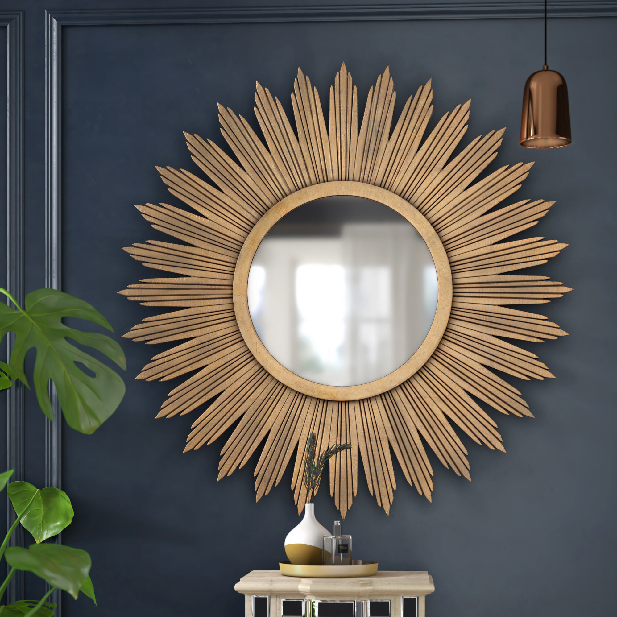 Aged Gold Wall Décor Modern & Contemporary Wall Mirror inside Starburst Wall Decor By Willa Arlo Interiors (Image 3 of 30)