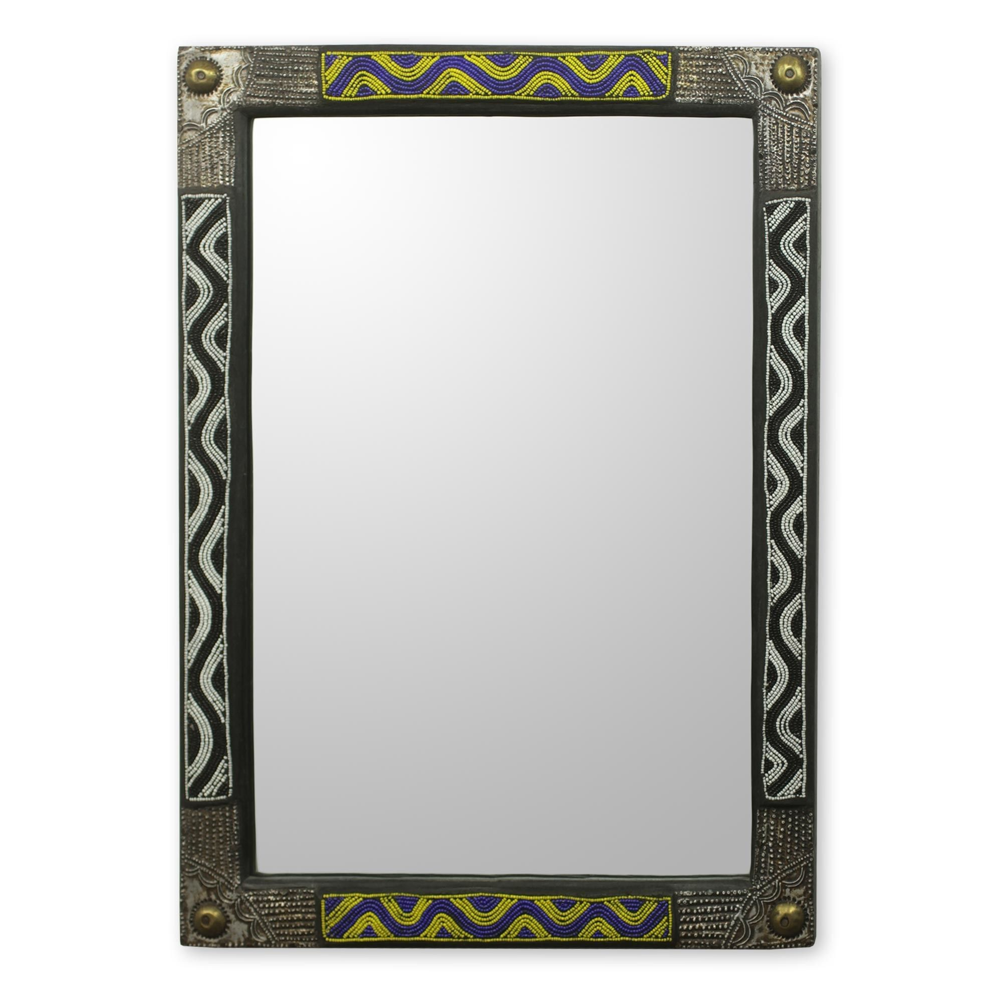 Ahoufe Ii African Beaded Wood Frame Wall Mirror With Metal Throughout Beaded Accent Wall Mirrors (View 1 of 30)