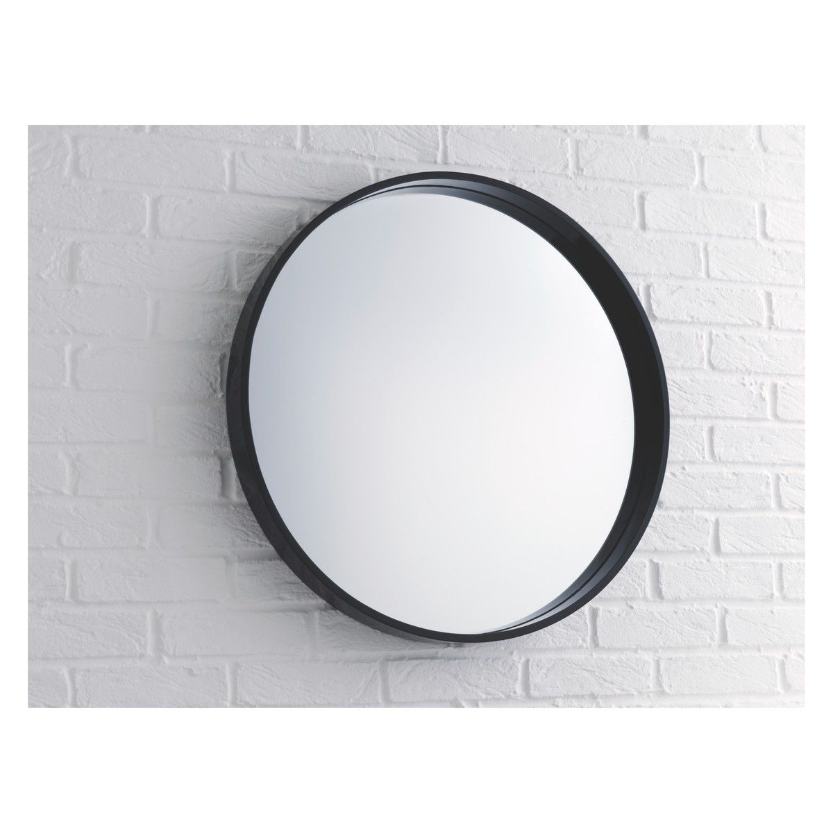 Aimee Black High Gloss Round Wall Mirror D65cm | Home Decor Pertaining To Round Galvanized Metallic Wall Mirrors (View 6 of 30)
