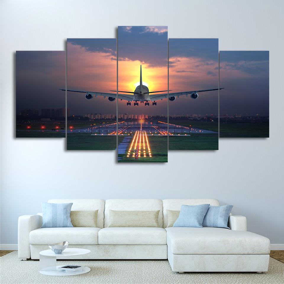 Airplane 747 Aviation Landing Sunset Airport – Airplane 5 Panel Canvas Art Wall Decor Inside Landing Art Wall Decor (View 6 of 30)