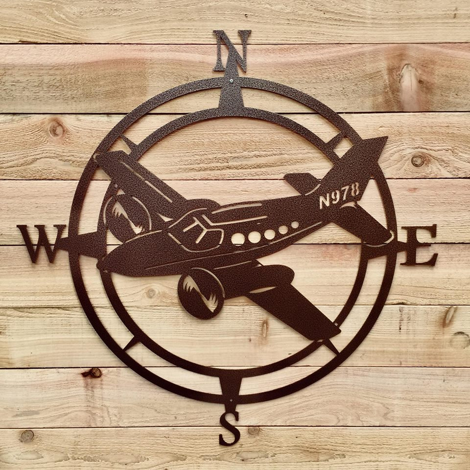 Airplane Compass Wall Art, Aviation Metal Wall Art, Aviation Outdoor Metal Art, Compass Wall Hanging, – Exclusive Copyrighted Design Of Hsa For Outdoor Metal Wall Compass (View 16 of 30)