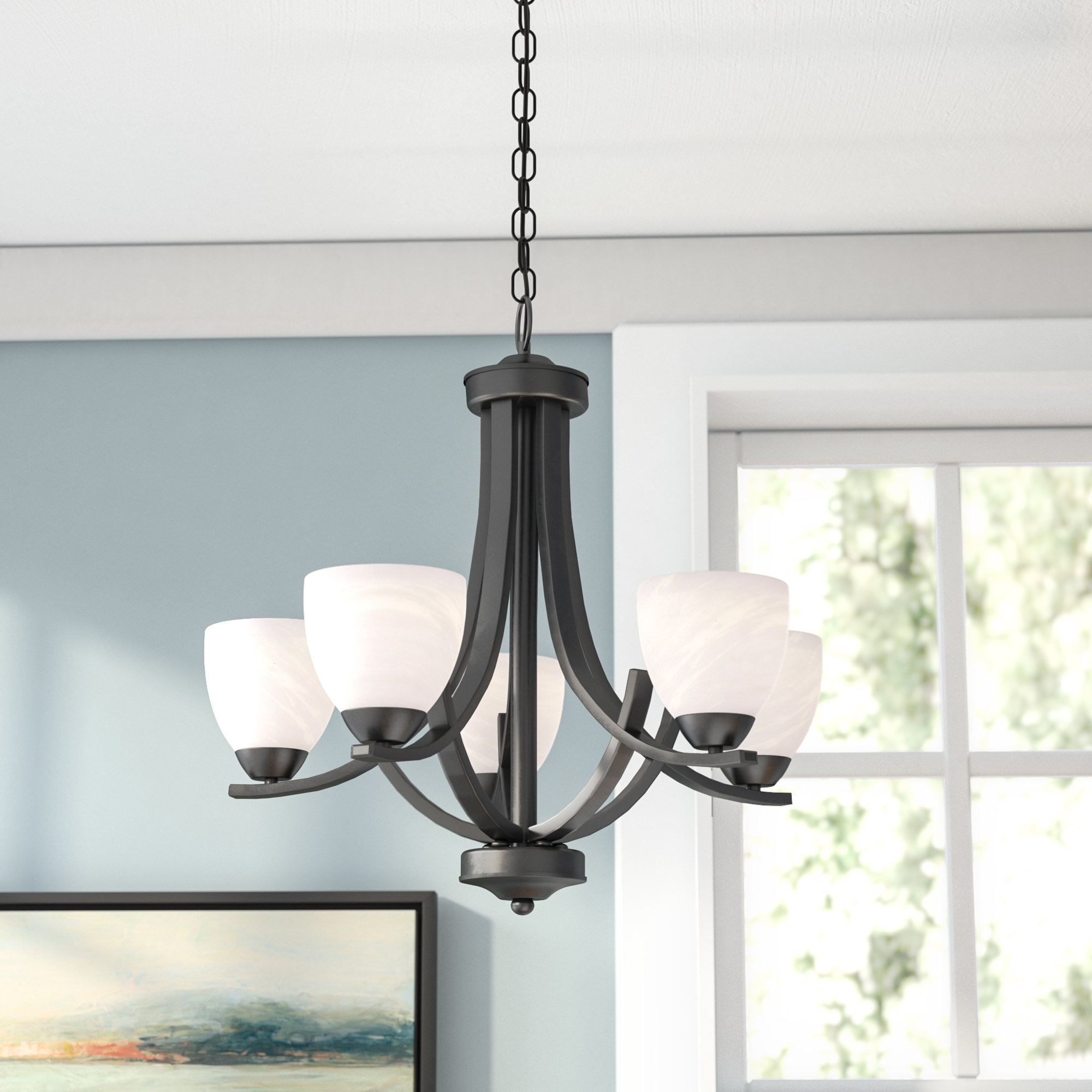 Alabaster Chandelier | Wayfair Pertaining To Crofoot 5 Light Shaded Chandeliers (View 3 of 30)