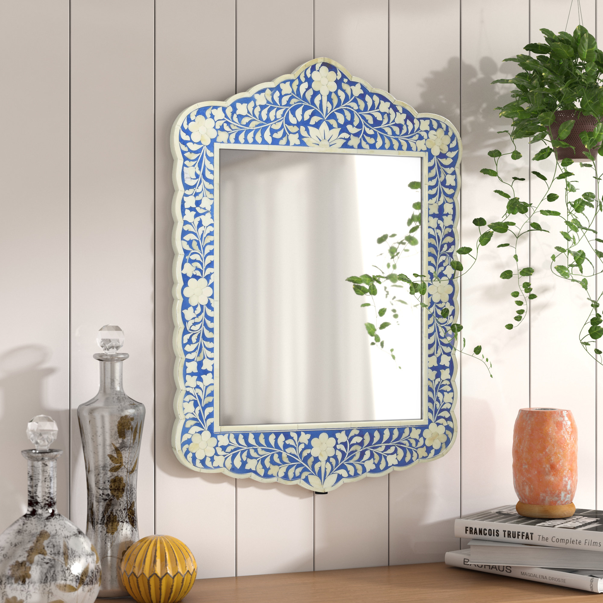 Alayna Botanic Bone Inlay Traditional Beveled Distressed Accent Mirror Intended For Traditional Beveled Accent Mirrors (View 10 of 30)