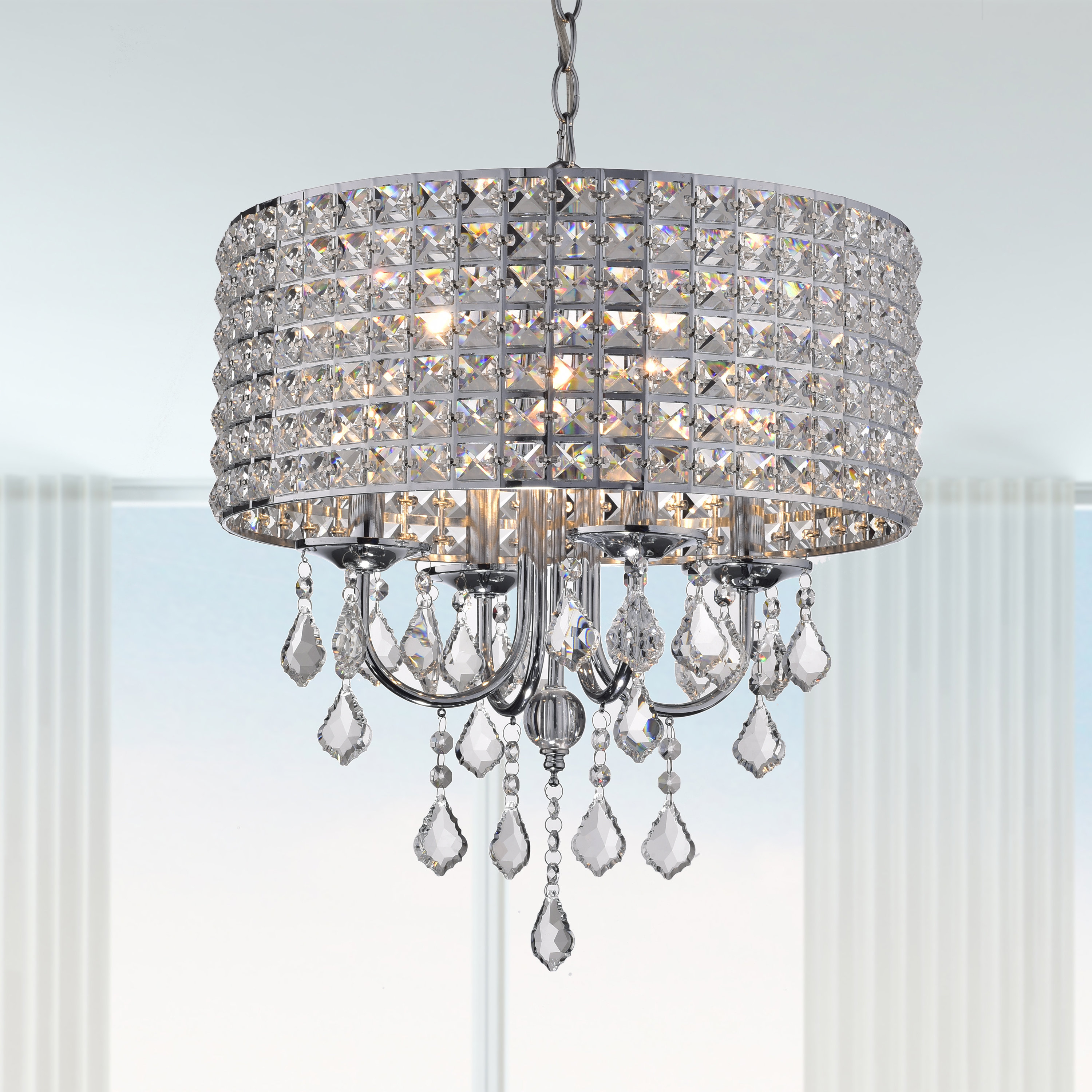 Albano 4 Light Crystal Chandelier Pertaining To Jill 4 Light Drum Chandeliers (View 13 of 30)