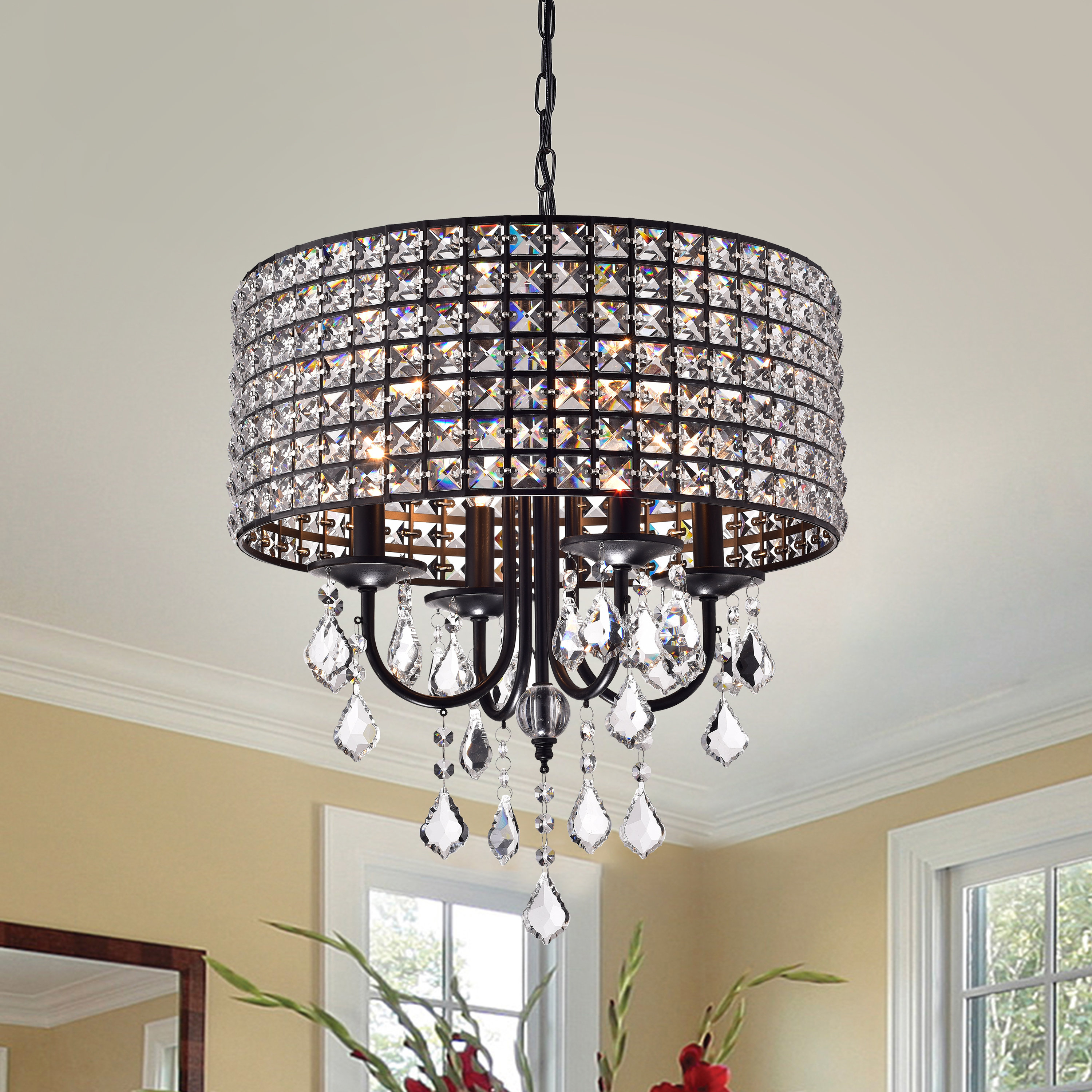 Albano 4 Light Crystal Chandelier With Gisselle 4 Light Drum Chandeliers (View 13 of 30)