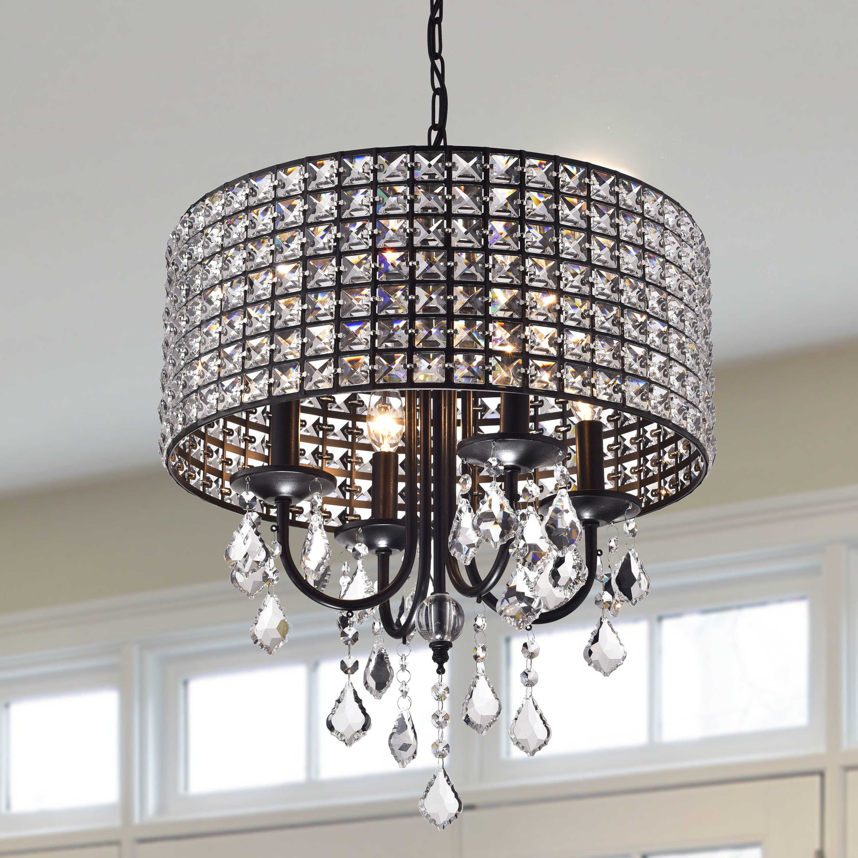 Albano 4 Light Crystal Chandelier Within Jill 4 Light Drum Chandeliers (View 15 of 30)