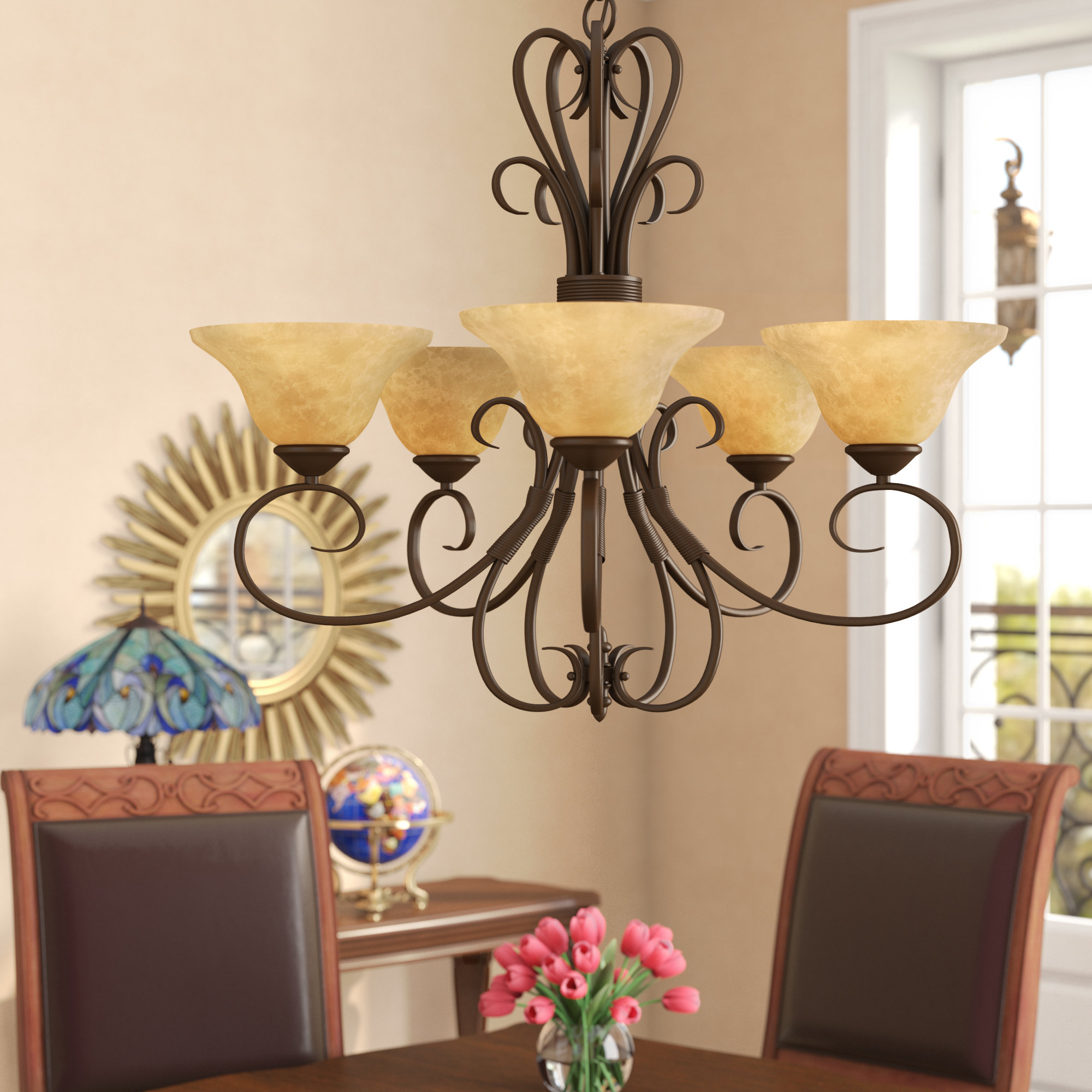 Alcott Hill Bloomville 5 Light Shaded Chandelier & Reviews Intended For Gaines 5 Light Shaded Chandeliers (View 24 of 30)