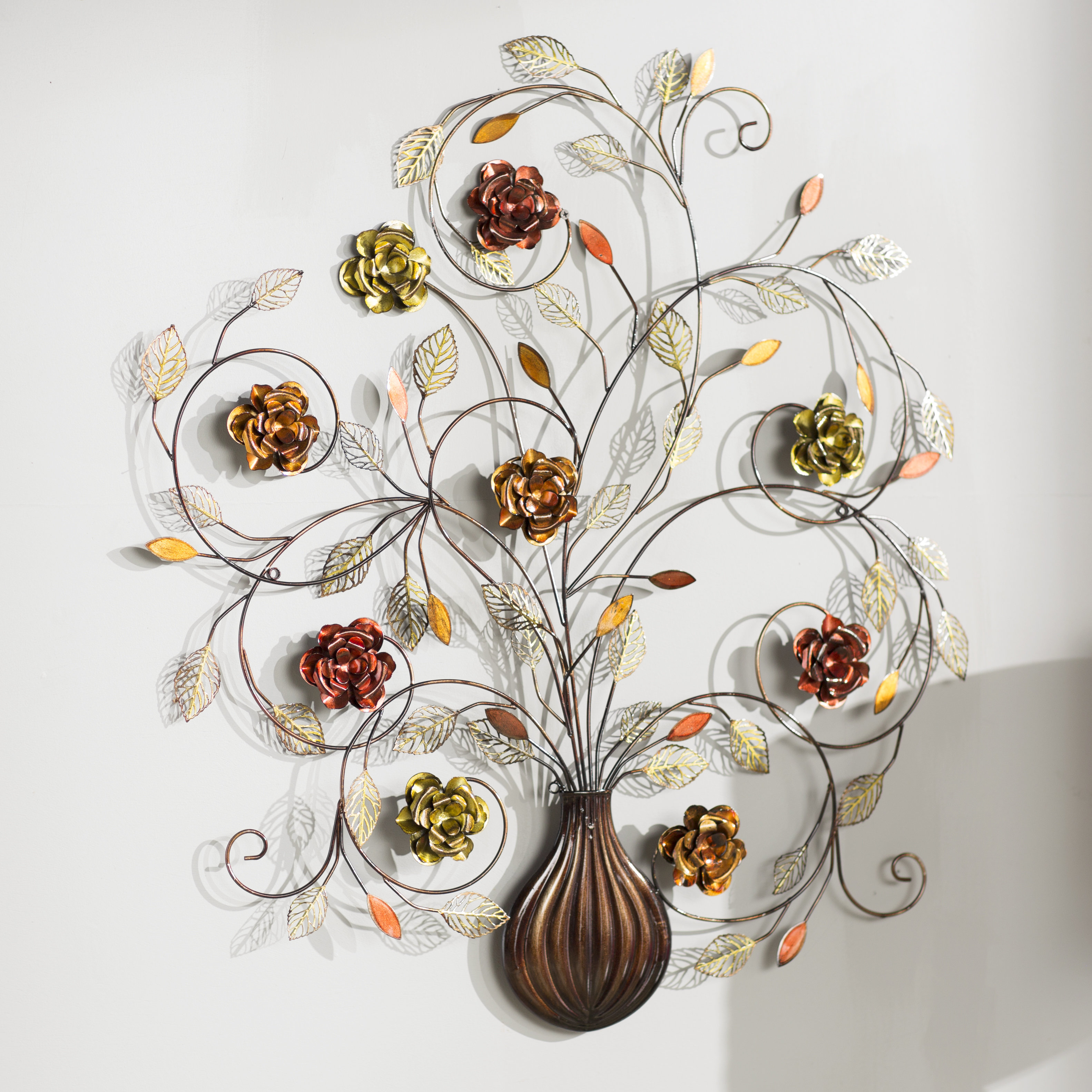 Alcott Hill Raheem Flowers Metal Wall Décor & Reviews Intended For Scattered Metal Italian Plates Wall Decor (View 2 of 30)