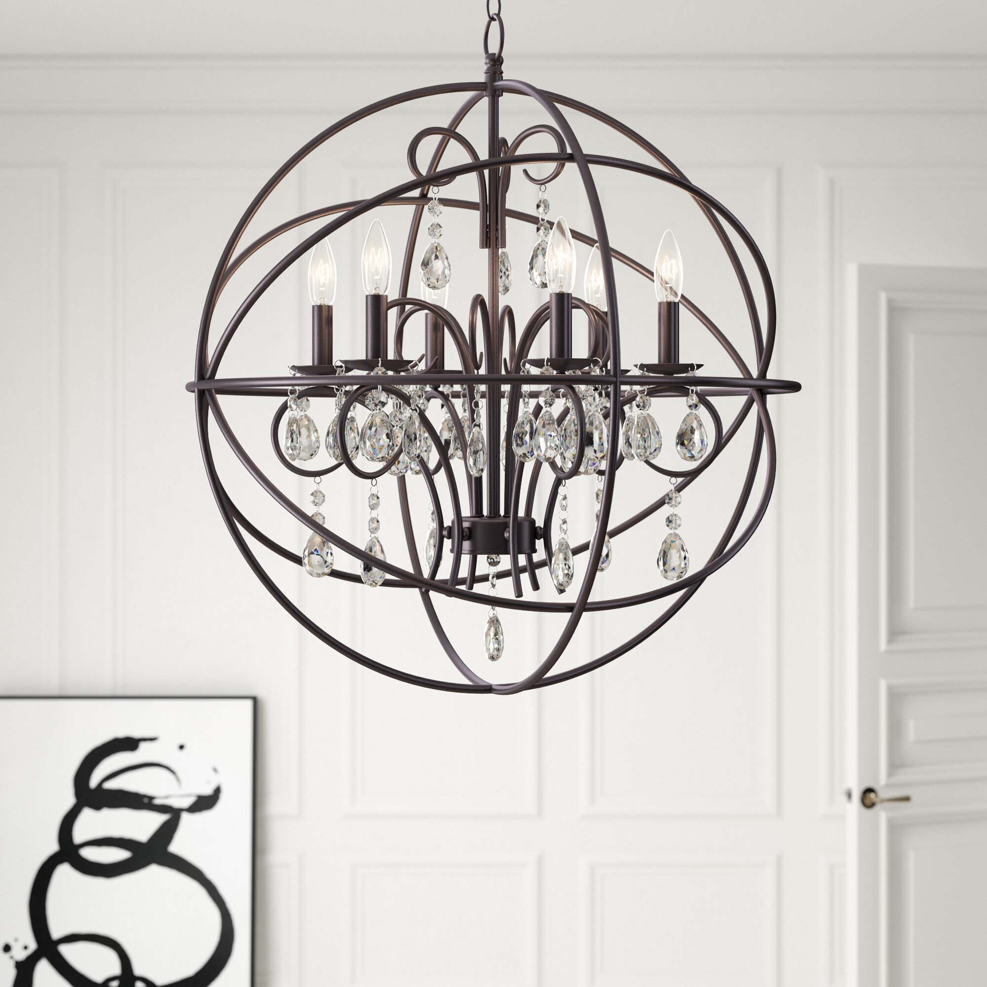 Alden 6 Light Globe Chandelier In Verlene Foyer 5 Light Globe Chandeliers (View 15 of 30)