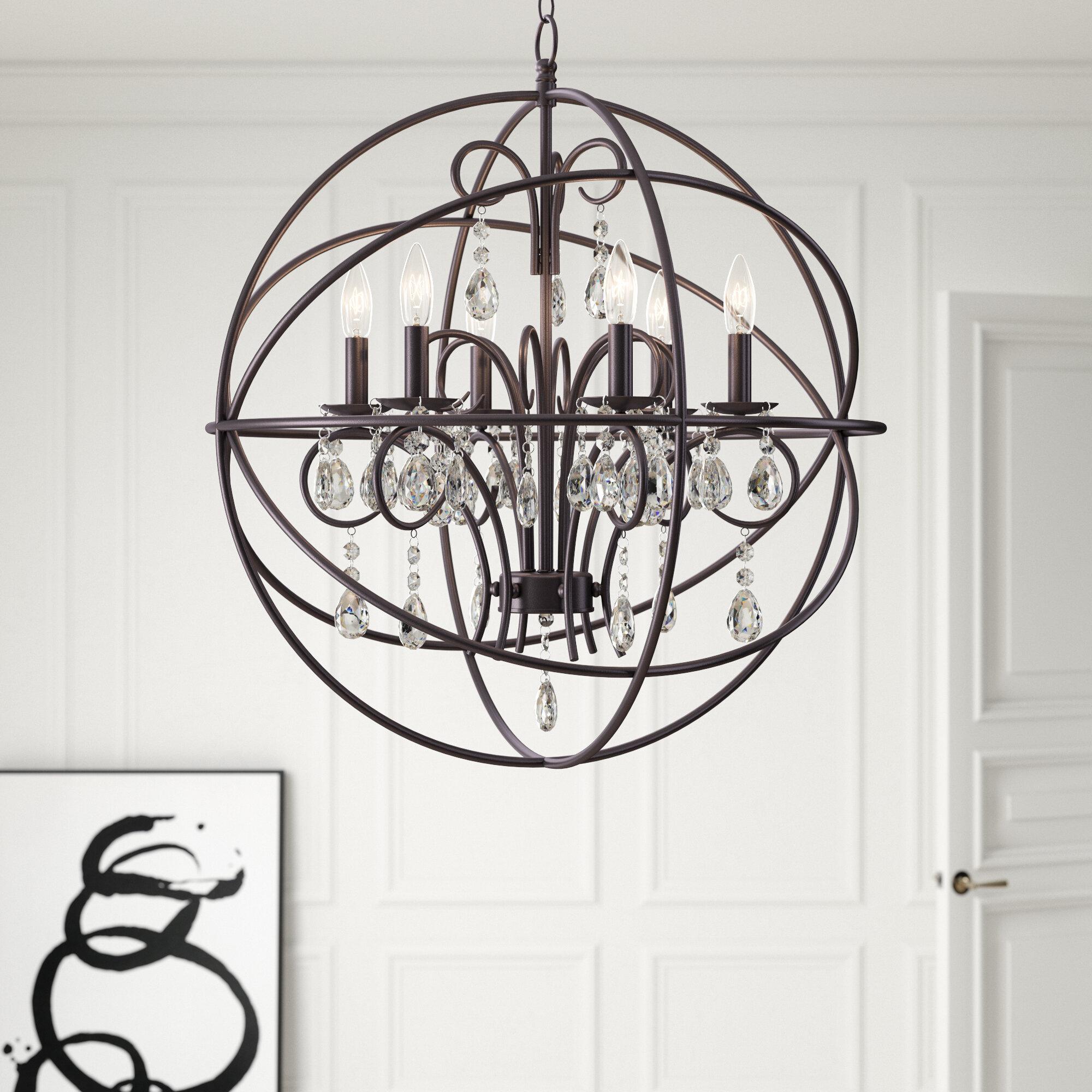 Alden 6-Light Globe Chandelier throughout Shipststour 3-Light Globe Chandeliers (Image 3 of 30)