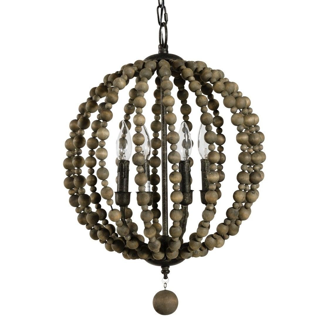 Alden Décor Sequoia Pendant In Wood Beads Within Alden 3 Light Single Globe Pendants (Image 6 of 30)