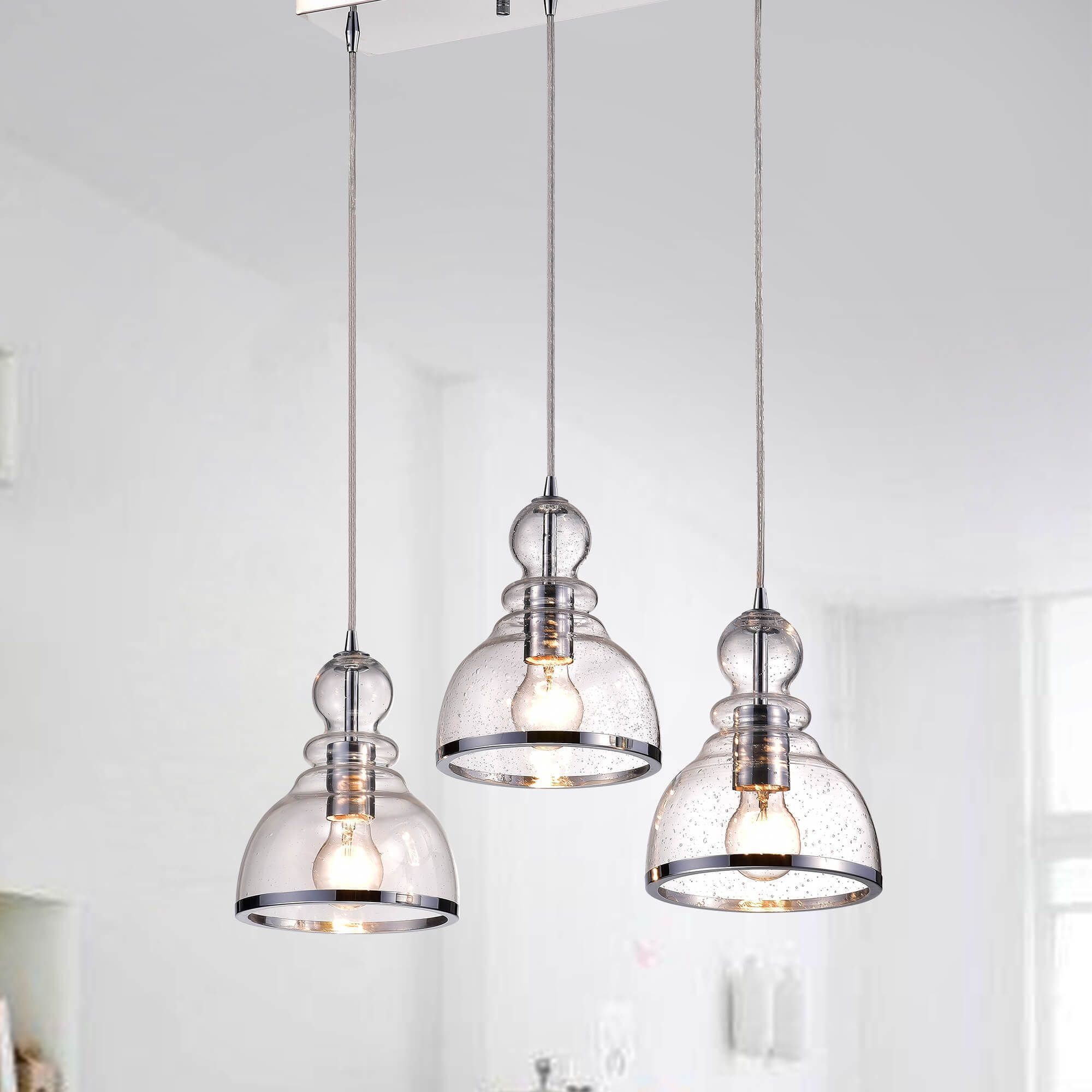 Alita Iron Chrome 3 Light Clear Bubble Glass Cluster Pendant Throughout Yarger 1 Light Single Bell Pendants (View 12 of 30)