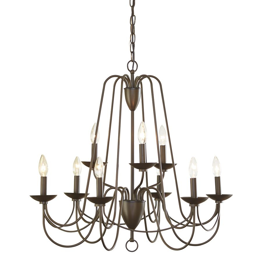Allen + Roth Wintonburg 27.95-In 9-Light Aged Bronze with Watford 9-Light Candle Style Chandeliers (Image 3 of 30)