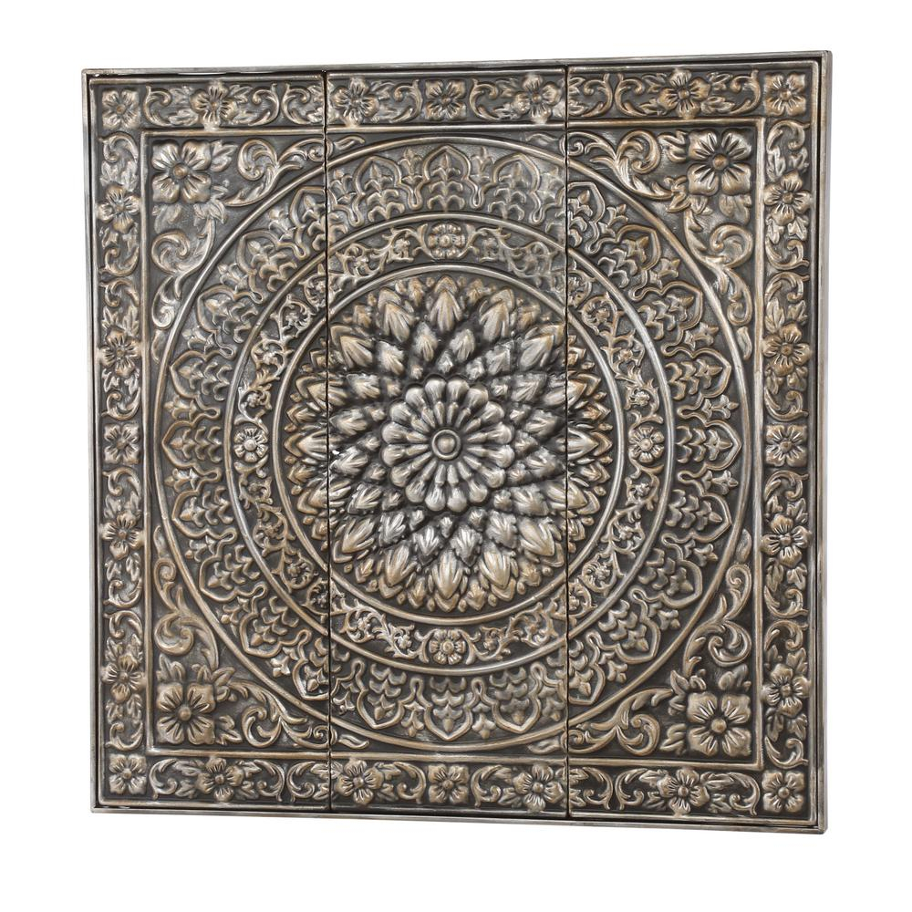 Amaryllis 36 In. Square Metal Wall Decor In Metallic 80951 with regard to Ornamental Wood and Metal Scroll Wall Decor (Image 3 of 30)