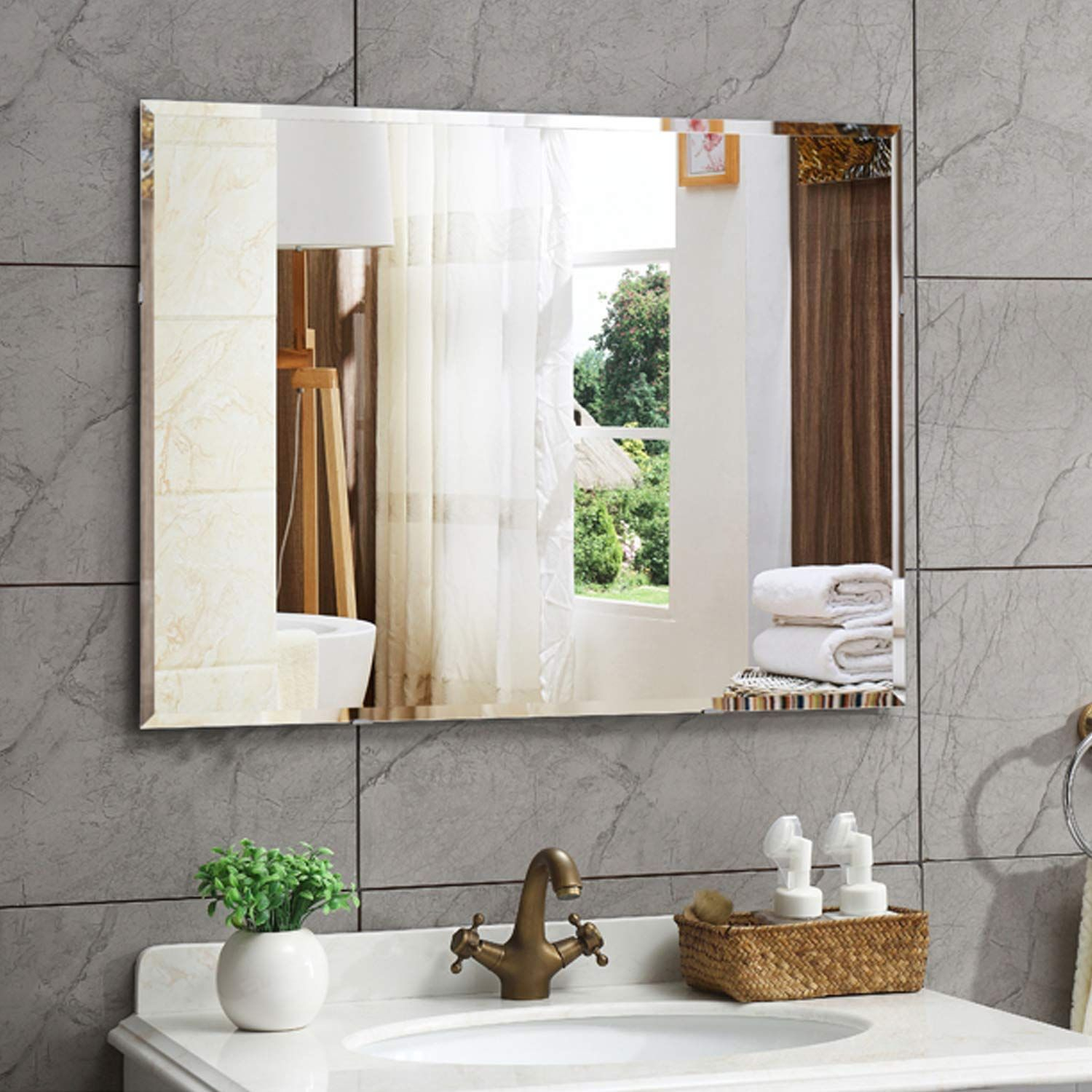 Amazon: Hans&alice Beveled Bathroom Mirrors Wall Mounted within Boyers Wall Mirrors (Image 1 of 30)