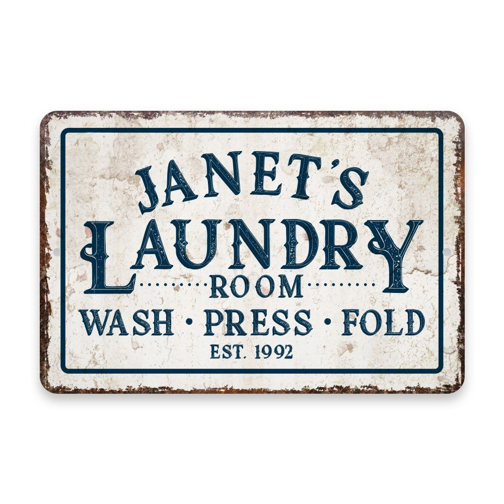 Amazon: Personalized Vintage Distressed Look Laundry Intended For Personalized Distressed Vintage Look Kitchen Metal Sign Wall Decor (View 4 of 30)