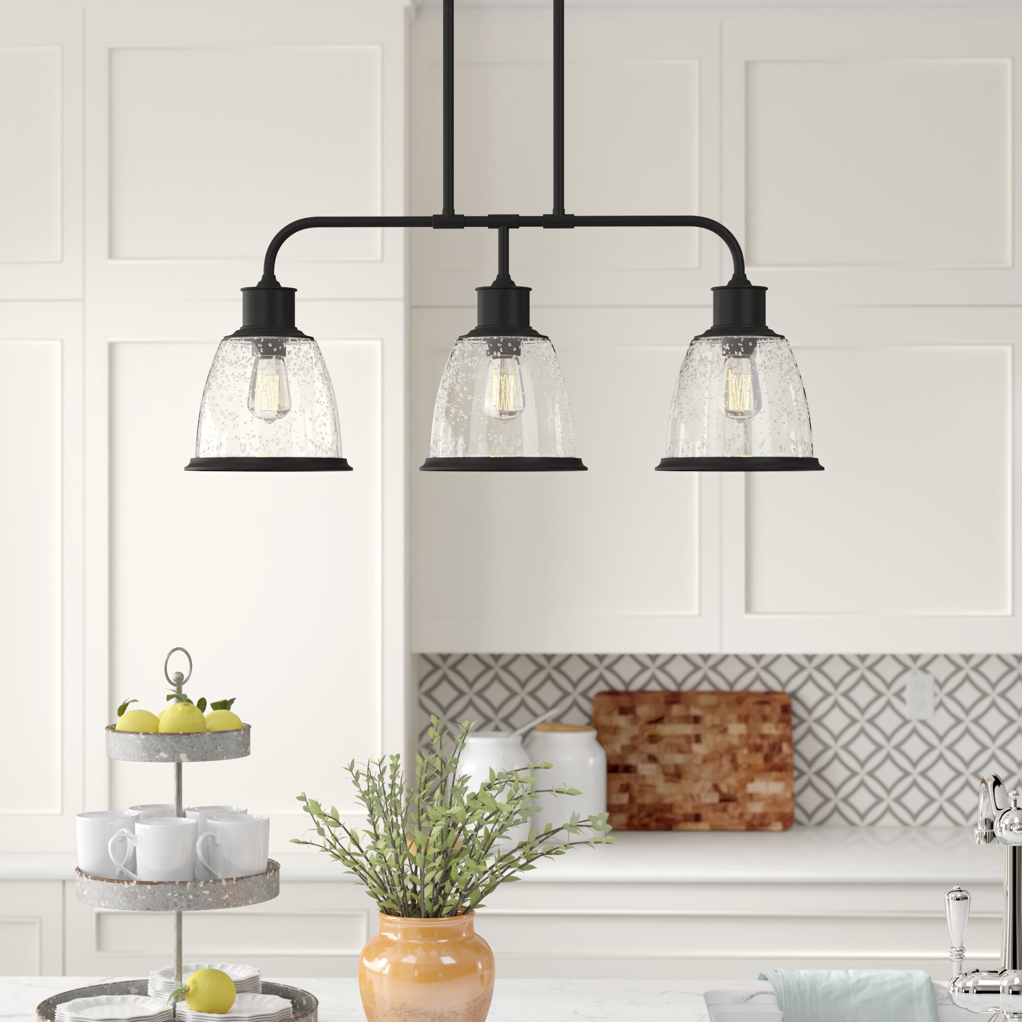 Ambler 3-Light Kitchen Island Bell Pendant with Cinchring 4-Light Kitchen Island Linear Pendants (Image 3 of 30)