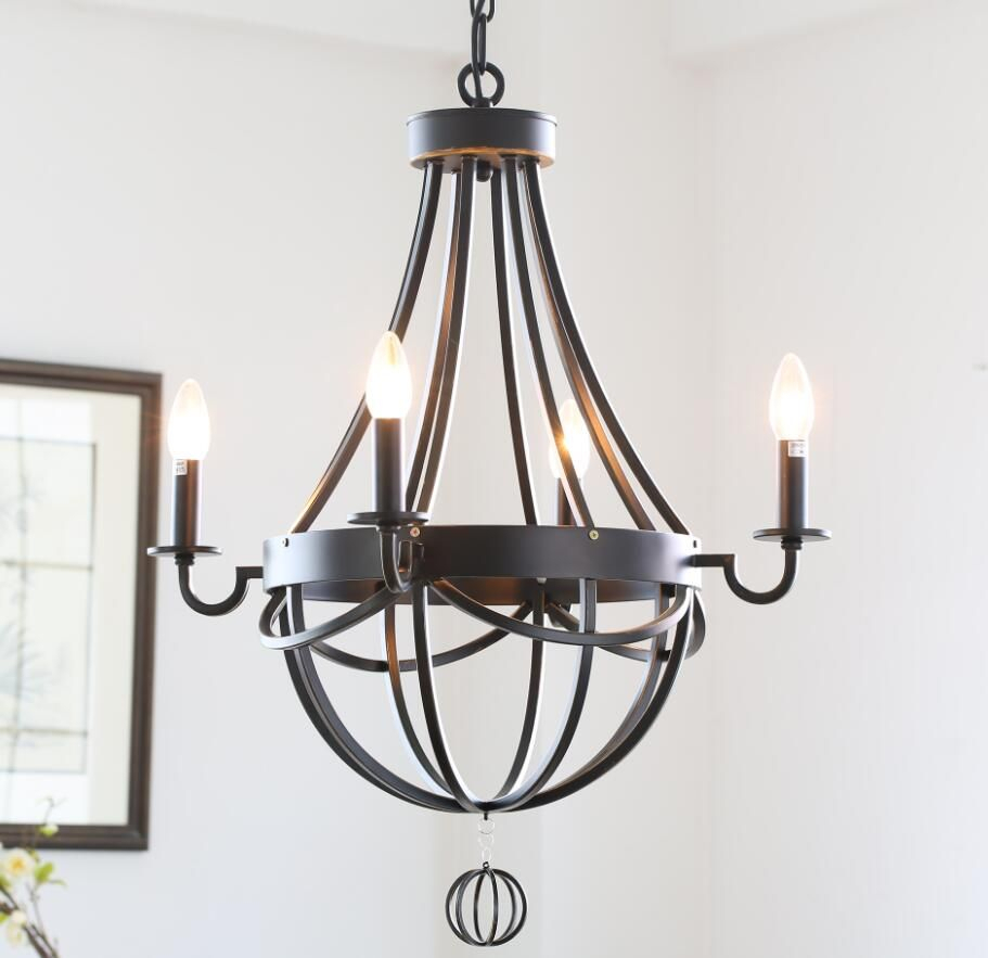 American Country Style Antique Wrought Iron Paint Chandelier Regarding Newent 5 Light Shaded Chandeliers (View 10 of 30)