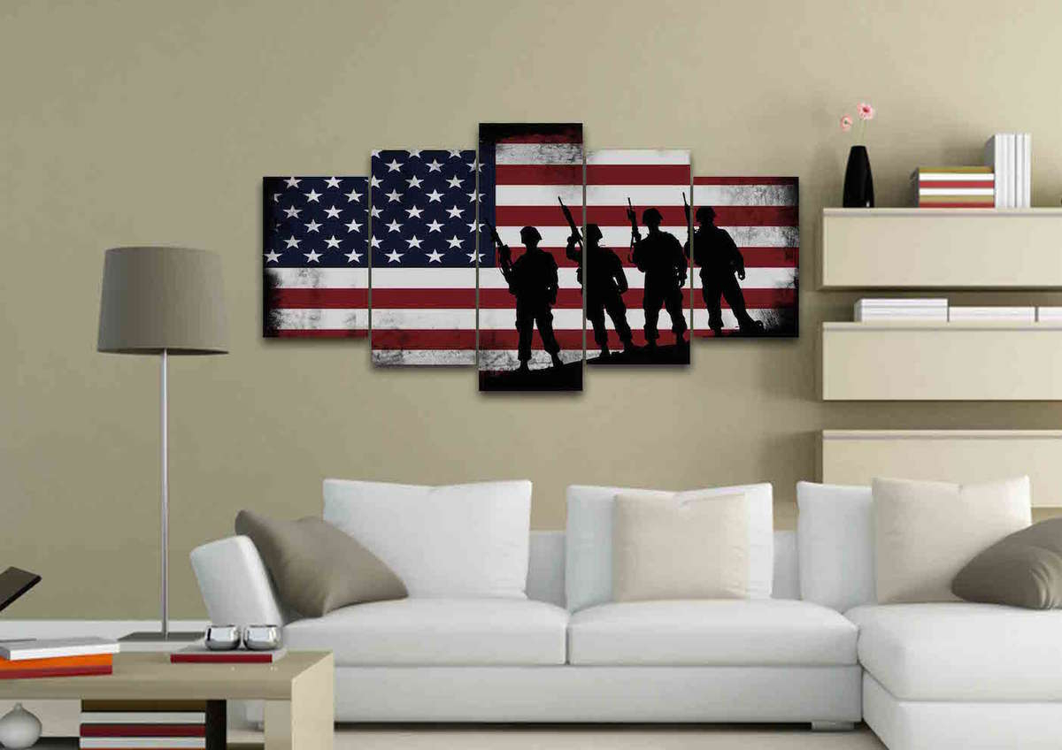 American Flag And 4 Us Army Marines Wall Art Canvas Painting Decor intended for American Pride 3D Wall Decor (Image 4 of 30)