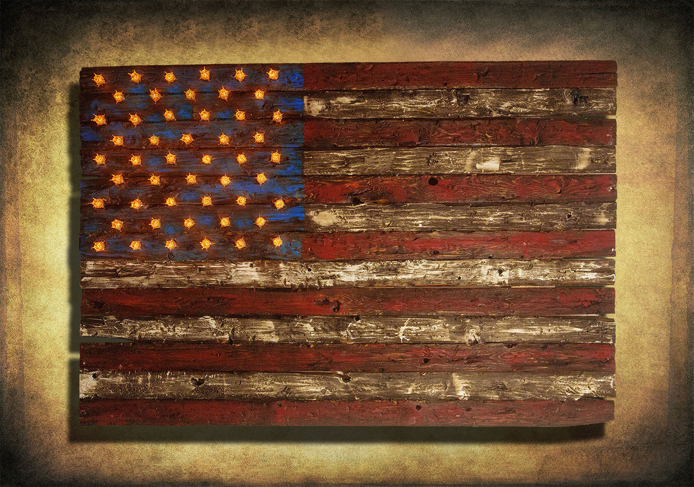 American Flag, Weathered Wood, Edison Bulb, 3D, Wooden, Vintage, Art,  Distressed, Red, Blue, White Patriotic, Wall Art, Usa, Home Decor Inside American Flag 3D Wall Decor (Image 13 of 30)