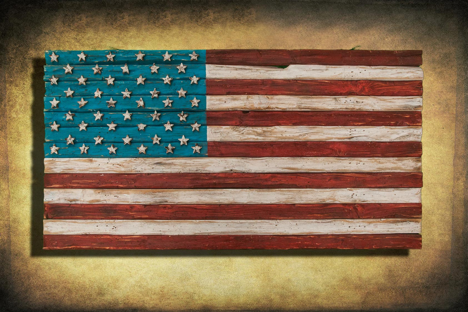 American Flag, Weathered Wood, One Of A Kind, 3D, Wooden, Vintage, Art,  Distressed, Red, Blue, White Patriotic, Wall Art, Usa, Home Decor Regarding American Flag 3D Wall Decor (Image 15 of 30)