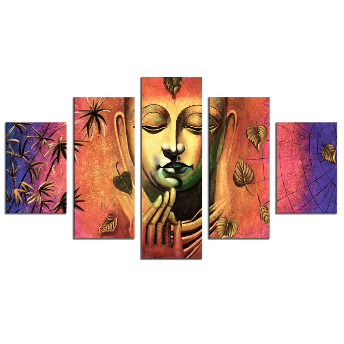 Amosi Art 5 Panel Wall Art Painting Abstract Buddha Picture Prints On  Canvas Buddha Canvas Wall Art The Picture For Modern Home Living Room  Decoration For Abstract Bar And Panel Wall Decor (Image 10 of 30)