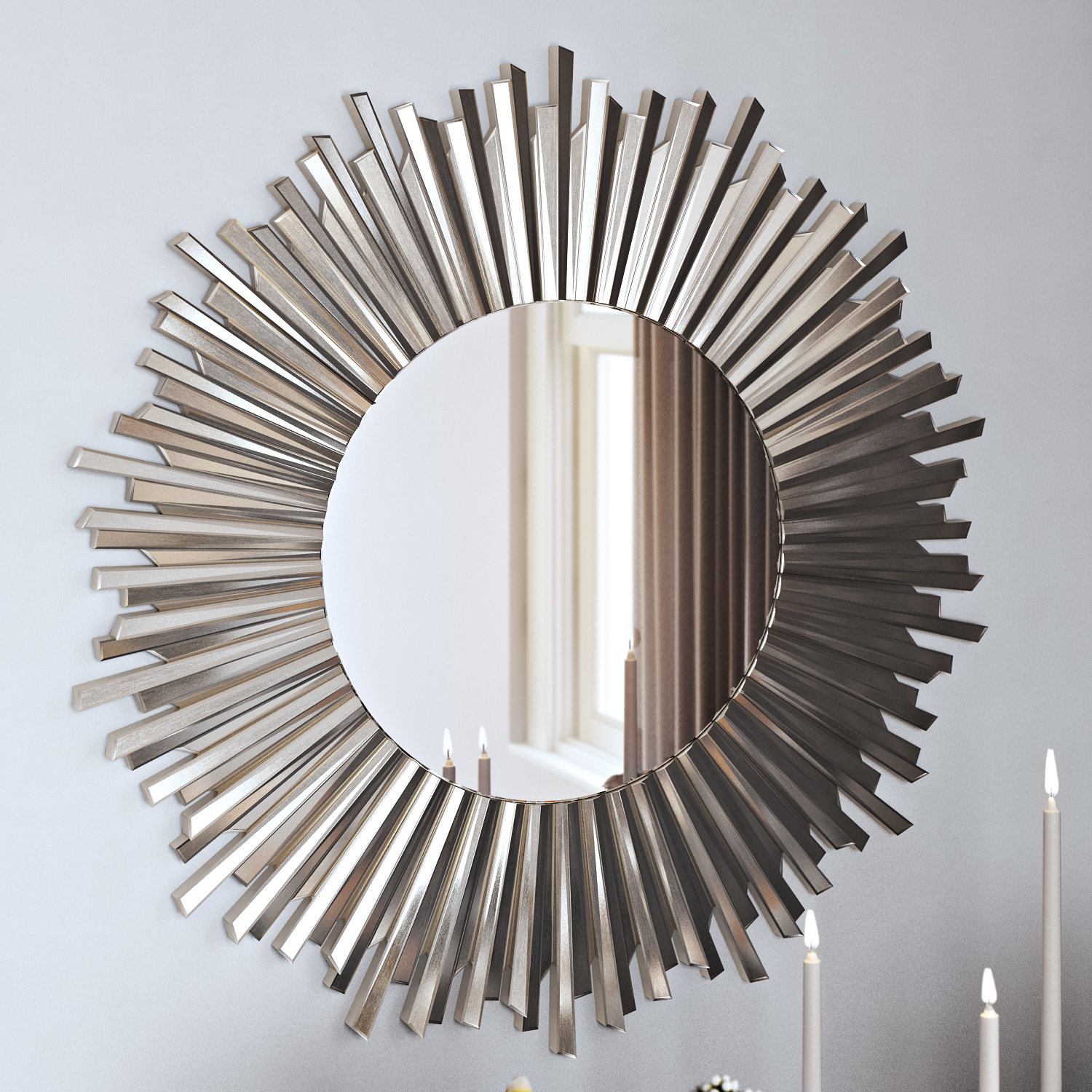 Amusant Starburst Accent Mirror In Silver Finish Silvering regarding Silver Frame Accent Mirrors (Image 5 of 30)