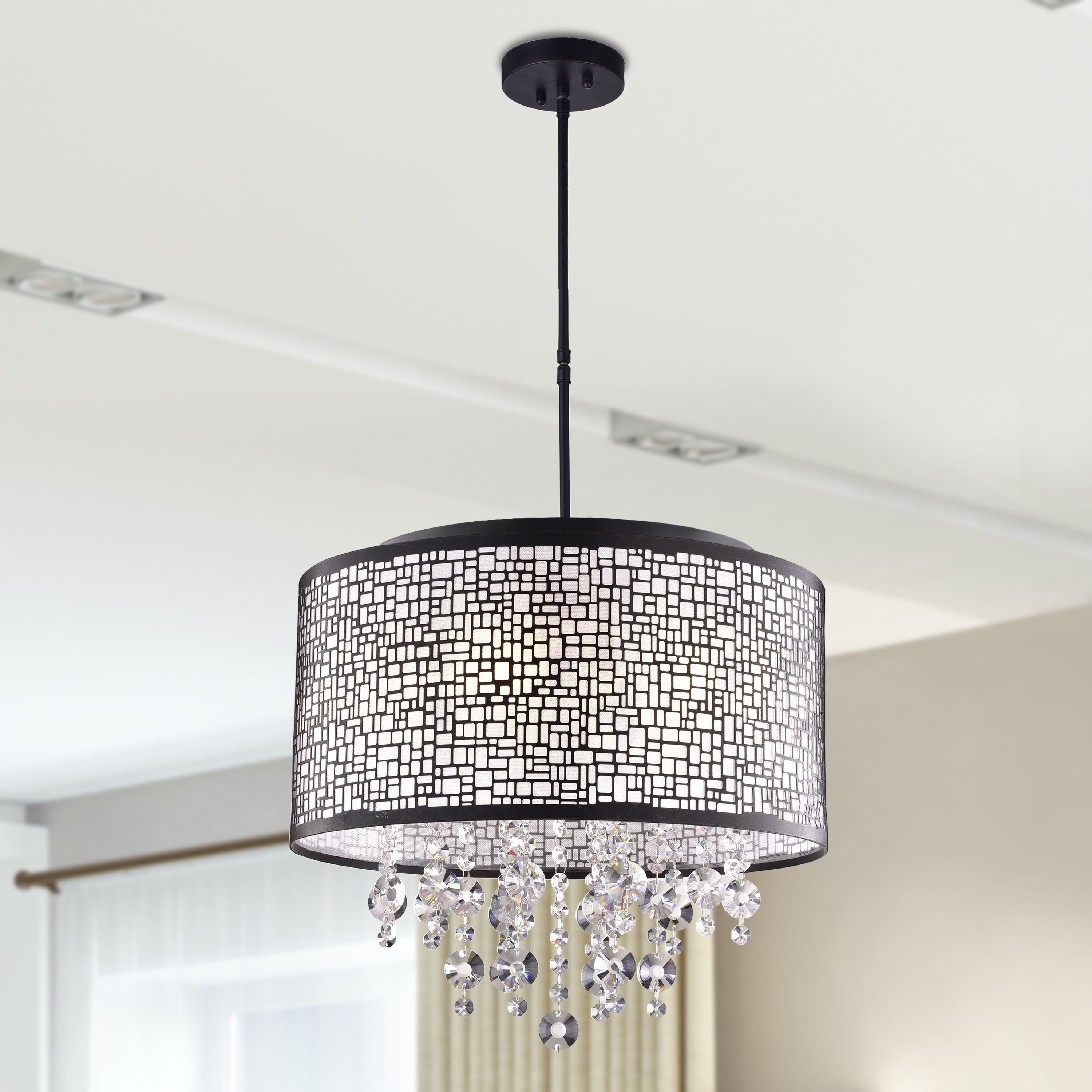 Anais 4 Light Black Metal And Crystal Drum Chandelier In Pertaining To Aurore 4 Light Crystal Chandeliers (View 5 of 30)