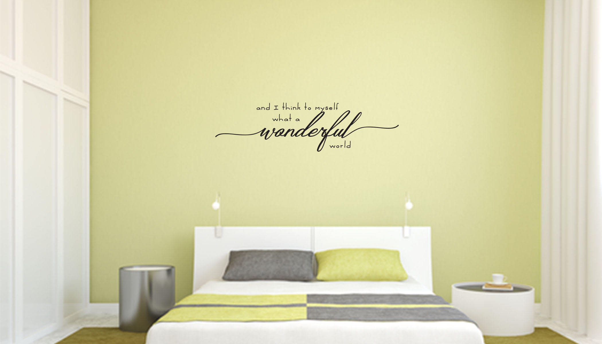 And I Think To Myself What A Wonderful World Wall Decal - Home, Bedroom,  Living Room Decor with regard to Wonderful World Wall Decor (Image 2 of 30)