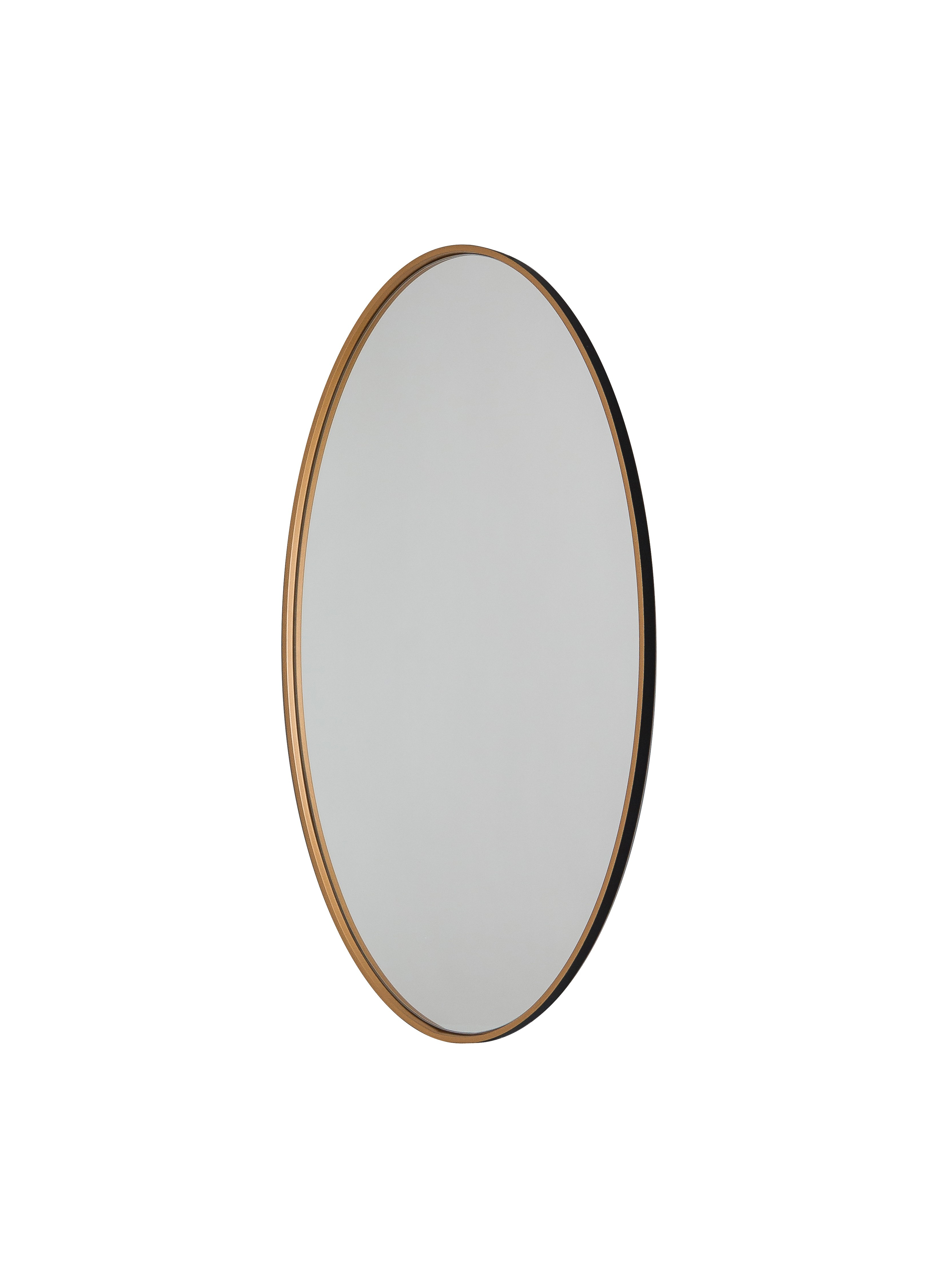 Andrea Oval Wooden Wall Mirror In Black And Gold Colour Inside Oval Wood Wall Mirrors (View 3 of 30)
