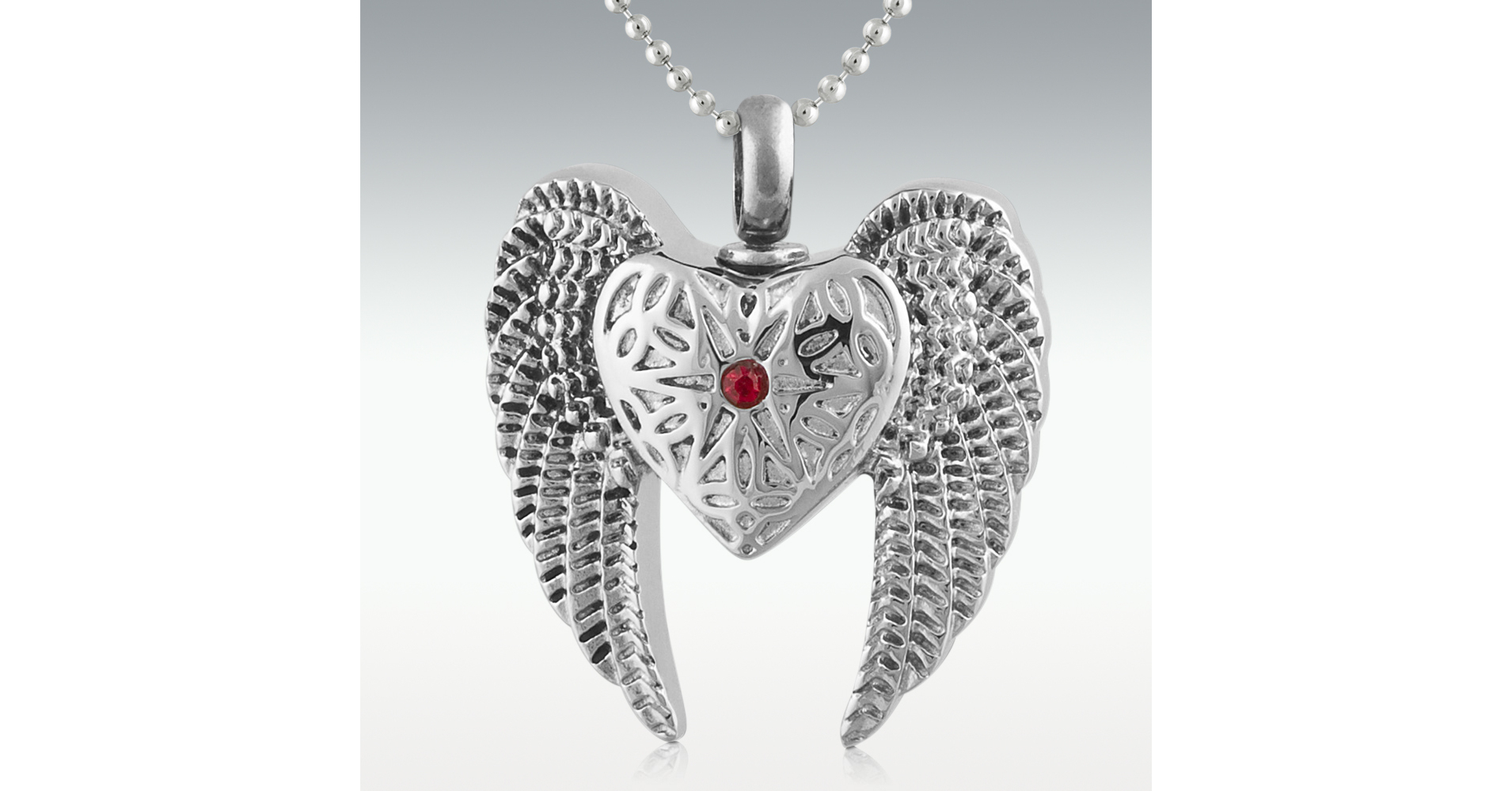 Angel Heart & Wings Stainless Steel Cremation Jewelry Engravable (Pm15812) With Regard To Adriana Black 1 Light Single Dome Pendants (Image 6 of 30)