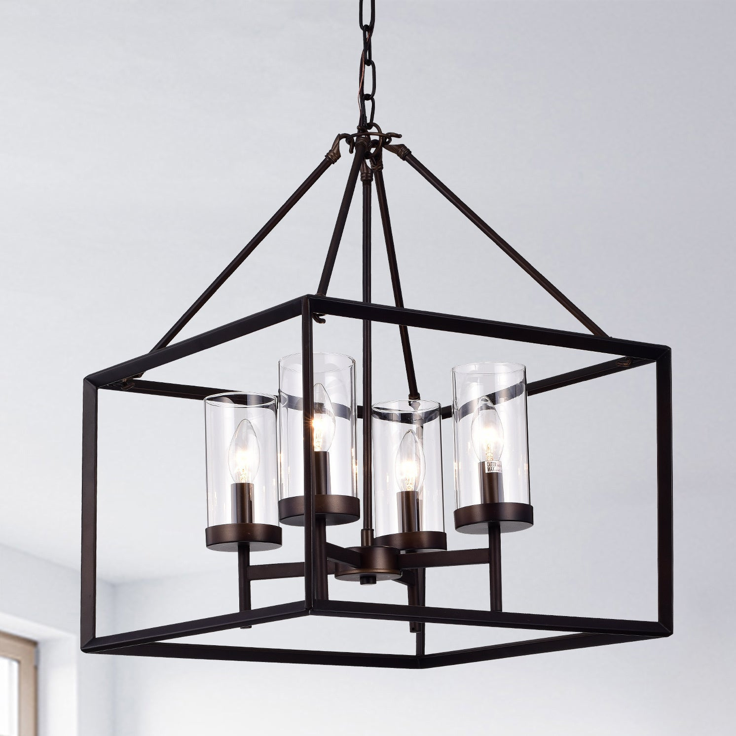 Anson Clear Pillar Glass Antique Bronze 4 Light Square Pendant Within Odie 4 Light Lantern Square Pendants (View 1 of 30)