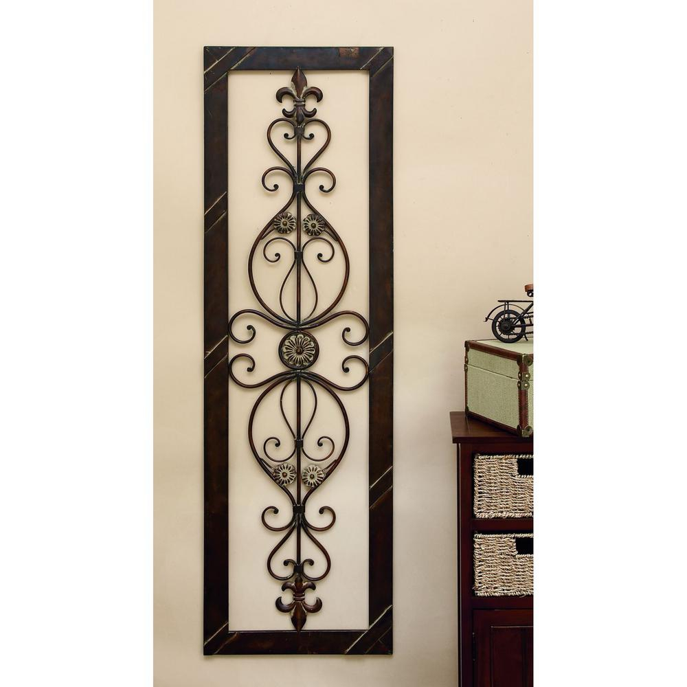 Antique Bronze 62 In. Fleur De Lis Wall Decor intended for Ornamental Wood and Metal Scroll Wall Decor (Image 3 of 30)