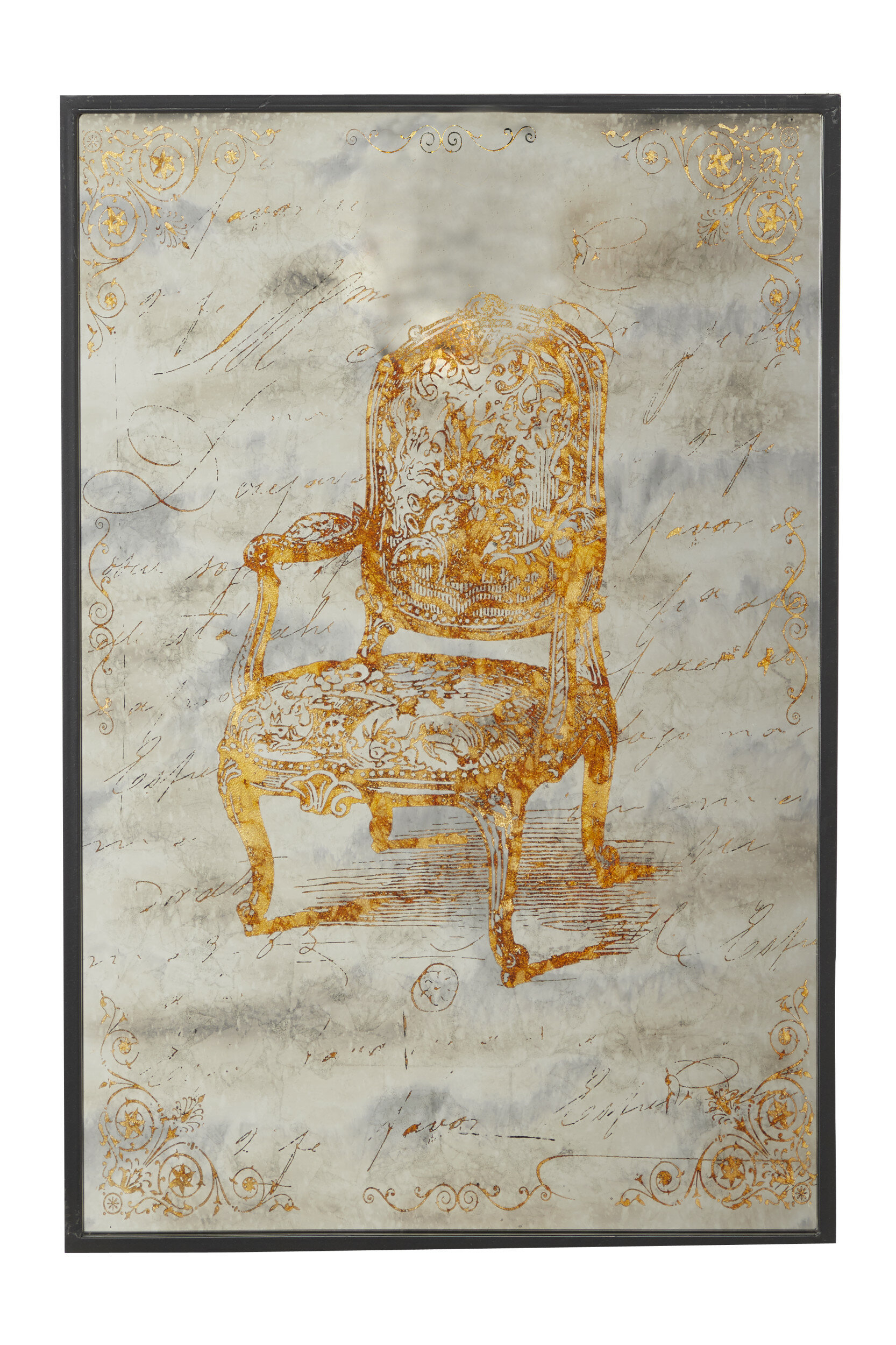Antique Chair On Iron Panel In Wood Frame Wall Décor Pertaining To 1 Piece Ortie Panel Wall Decor (View 7 of 30)