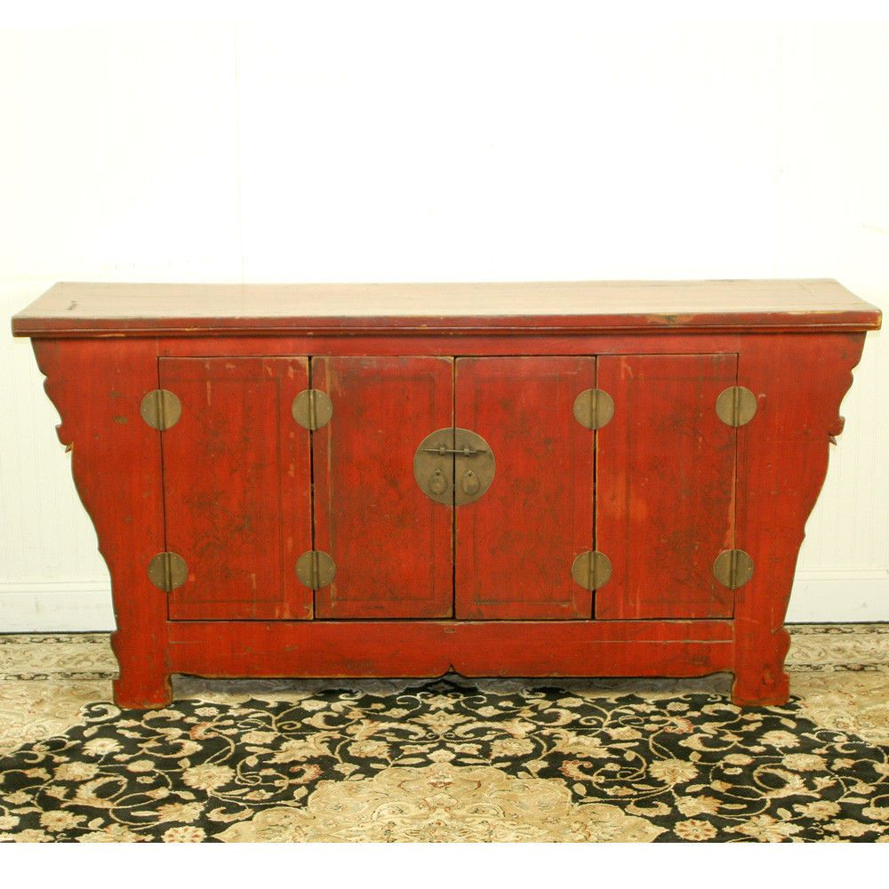 "Antique Chinese Asian 69"" Long Red Sideboard Buffet Cabinet Intended For Seven Seas Asian Sideboards (View 7 of 23)"