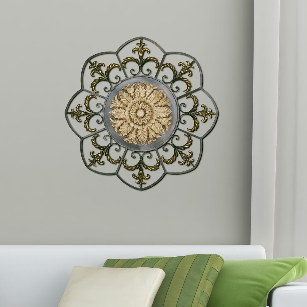 Antique Gold Medallion Metal Work Wall Decor With Regard To Scattered Metal Italian Plates Wall Decor (View 4 of 30)