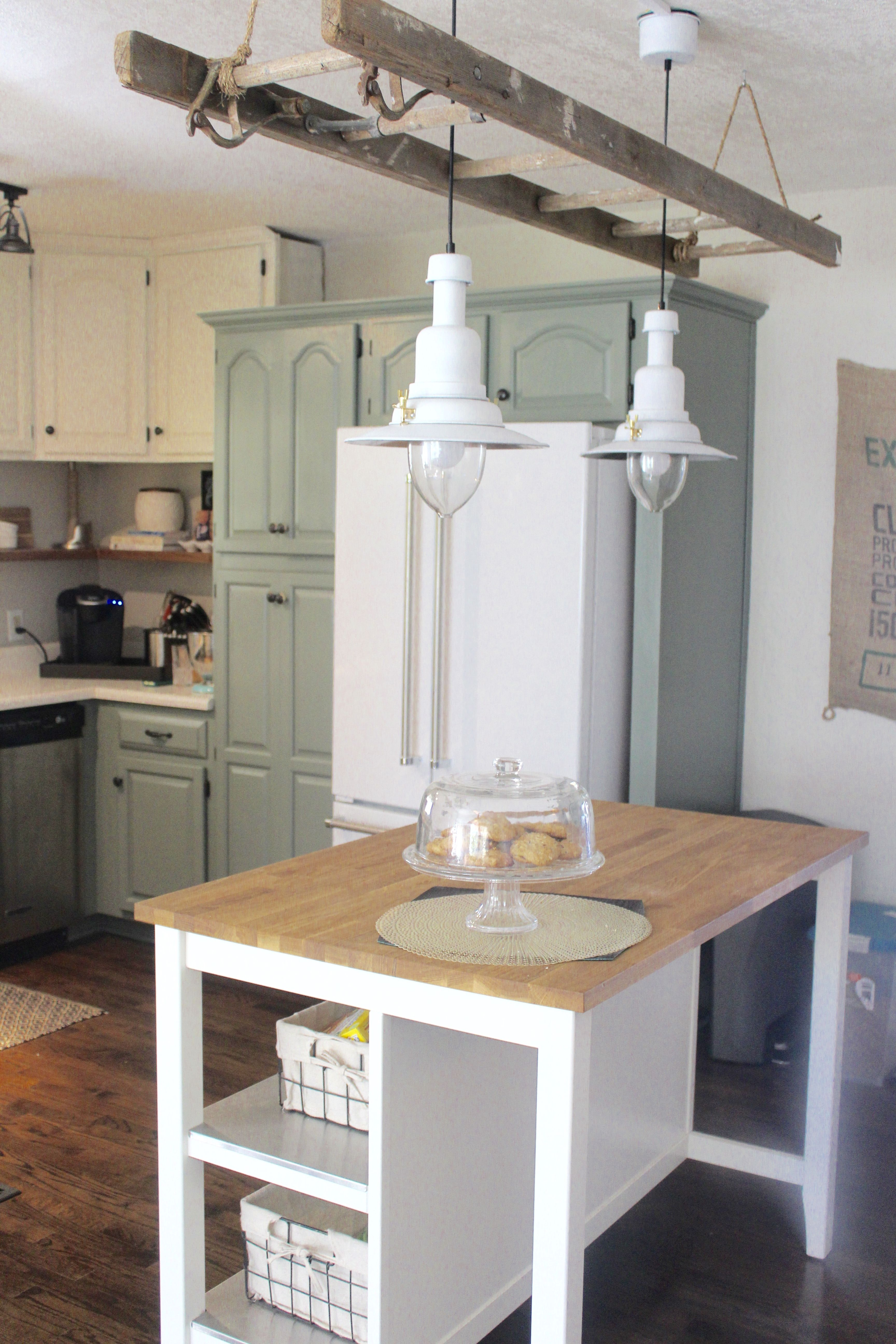 Antique Ladder And Pendant Lights | Lights And Candles For Ariel 2 Light Kitchen Island Dome Pendants (Image 7 of 30)