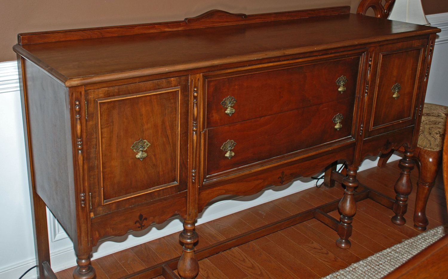Antique Sideboard / Buffet Dark Walnut (Image 2 of 30)
