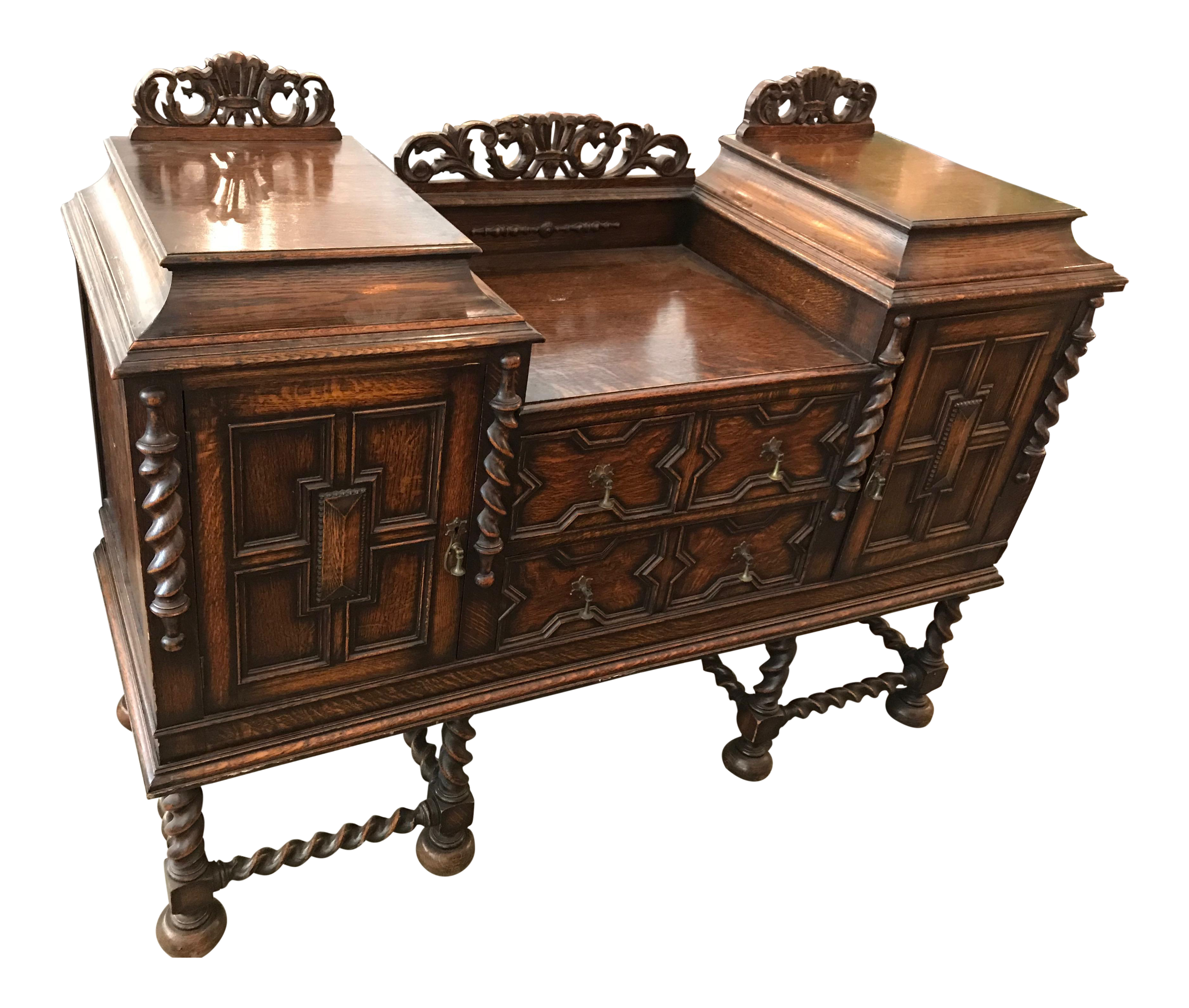 Antique Spanish Style Dark Wood Sideboard Dining Room pertaining to Stennis Sideboards (Image 3 of 30)