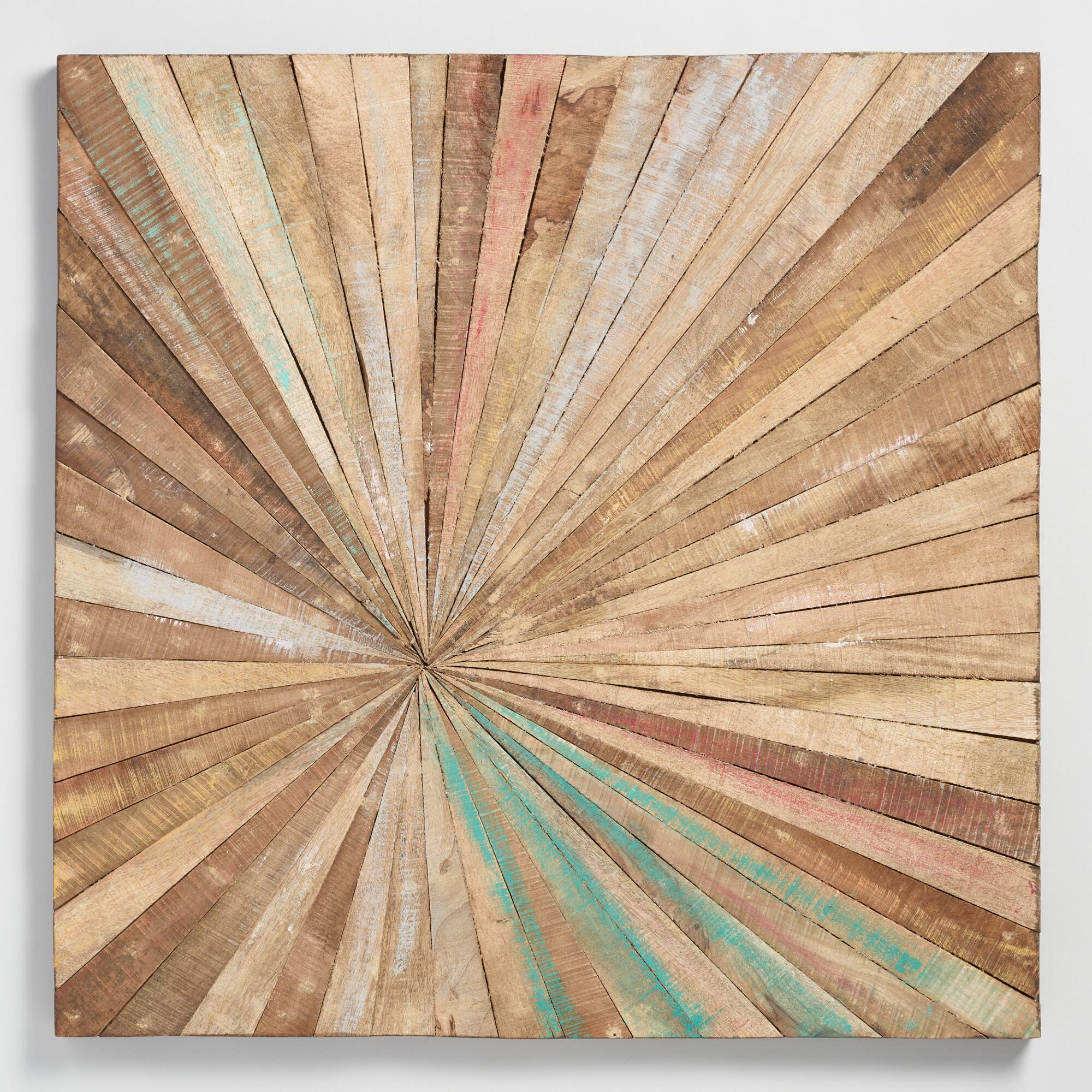 Antiqued Sunburst Wood Panel Wall Decor: Naturalworld Within Abstract Bar And Panel Wall Decor (Image 11 of 30)