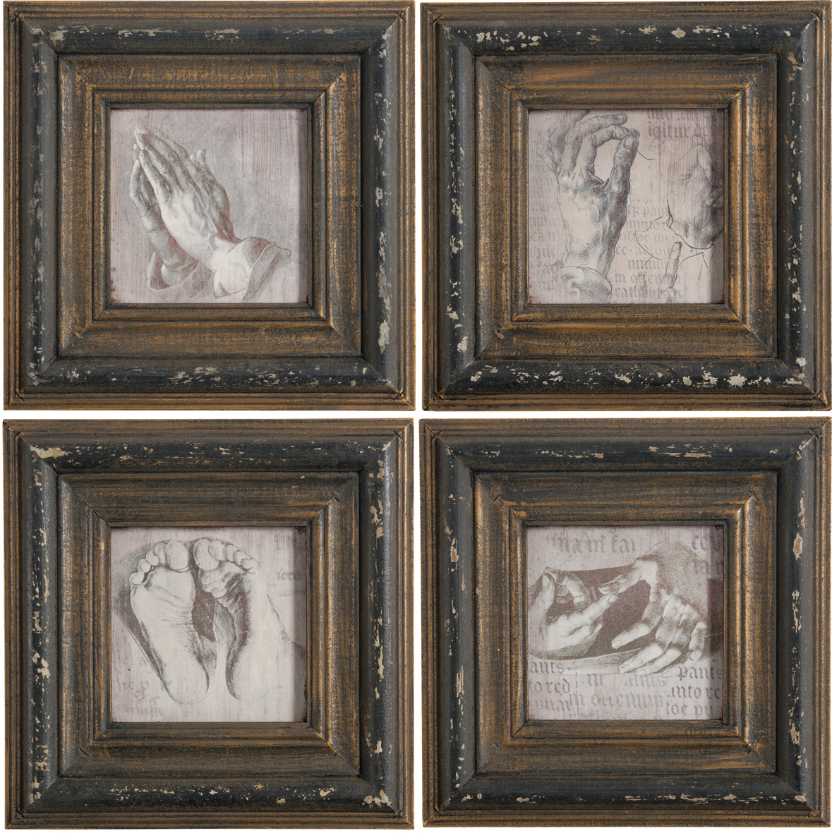 """Antiqued Wall Decor Vintage Art 12"""" Ii, Set Of 4 