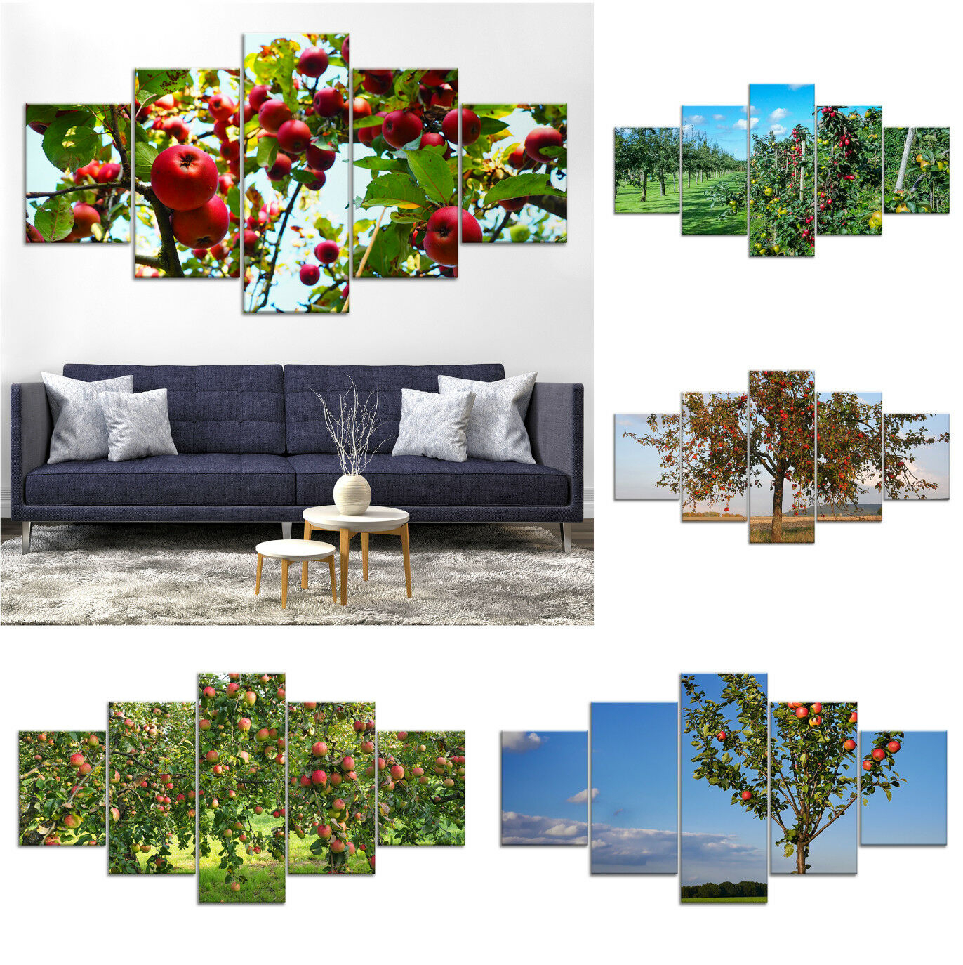 Apple Home 5Pcs Poster Art Wall Decor Framed Painting Print Inside 1 Piece Ortie Panel Wall Decor (View 8 of 30)