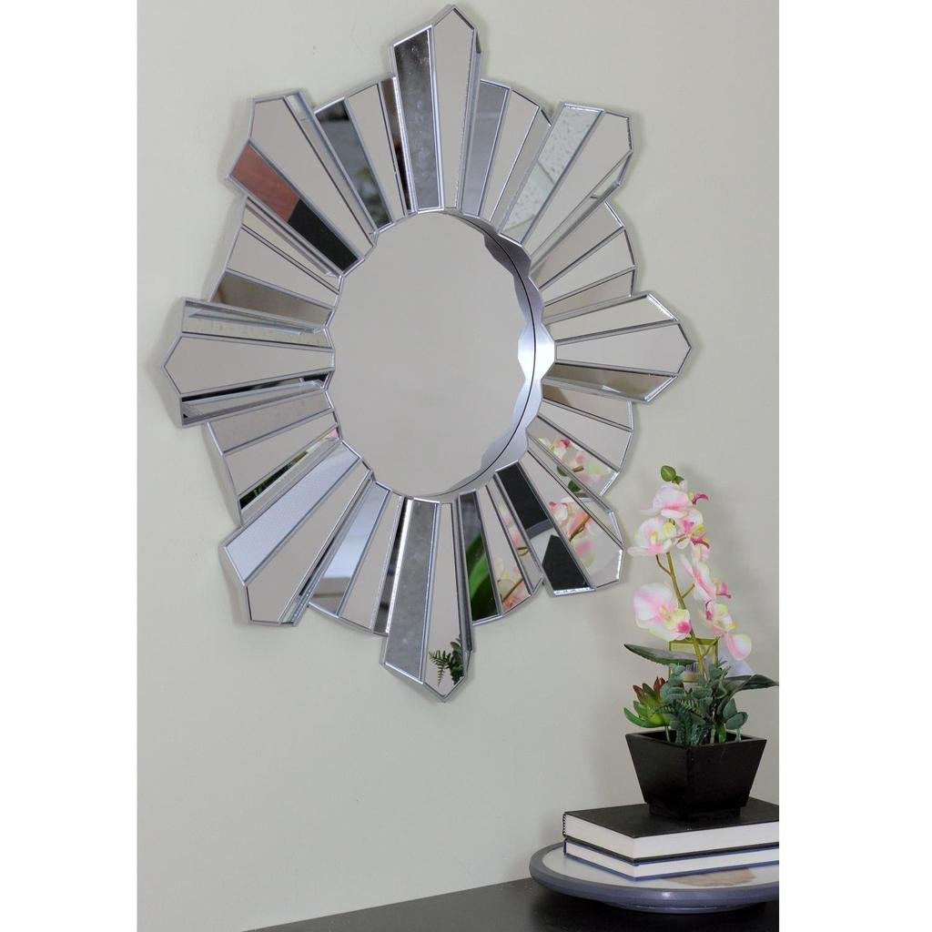 Arambula Sparkling Sunburst Wave Round Wall Mirror Pertaining To Josephson Starburst Glam Beveled Accent Wall Mirrors (View 20 of 22)