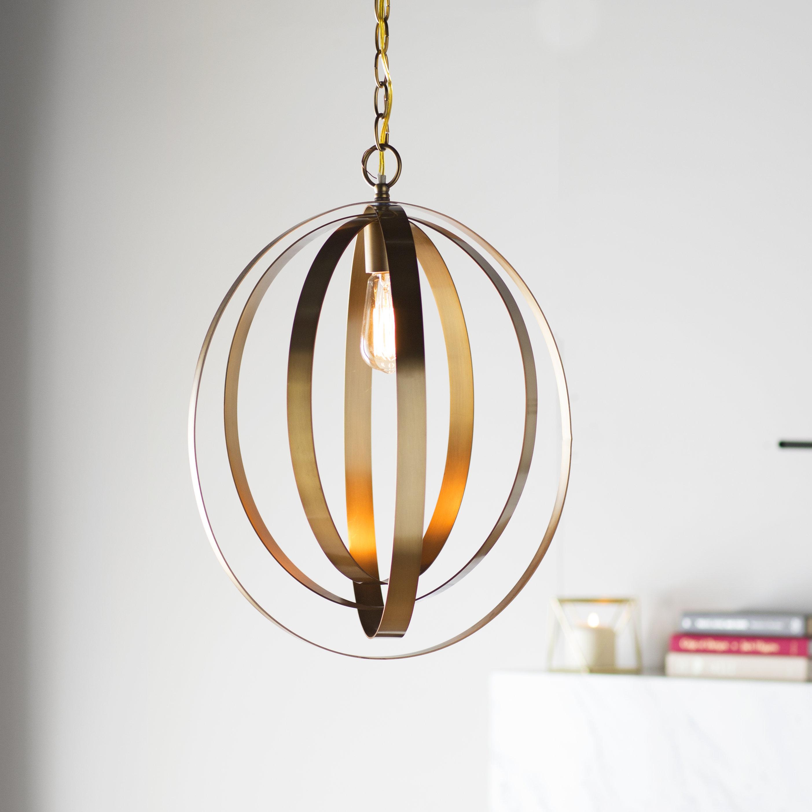 Arango 1-Light Led Globe Pendant for 1-Light Geometric Globe Pendants (Image 7 of 30)