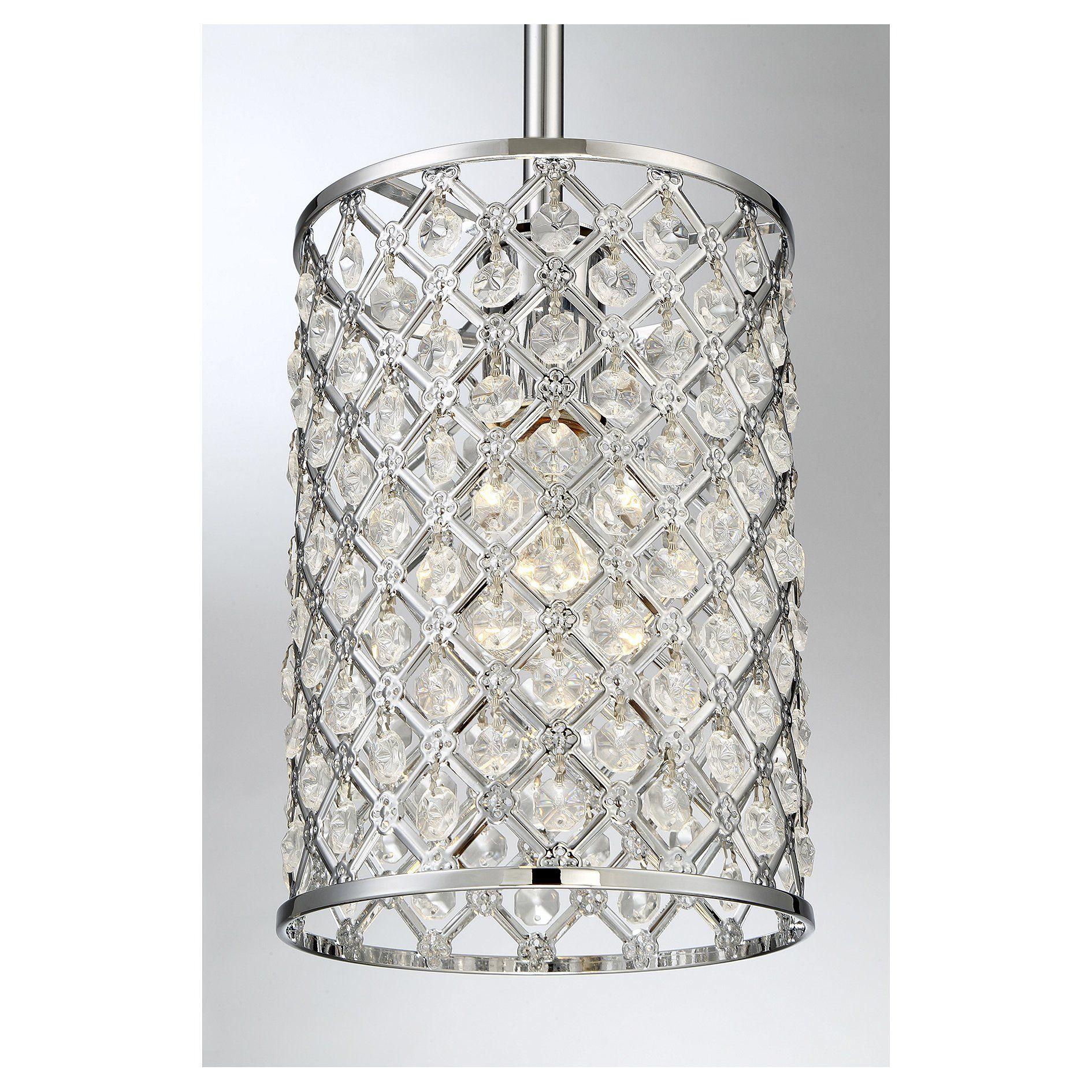 Araujo 1 Light Crystal Pendant | Lighting | Lighting, Mini Within Hurst 1 Light Single Cylinder Pendants (View 6 of 30)