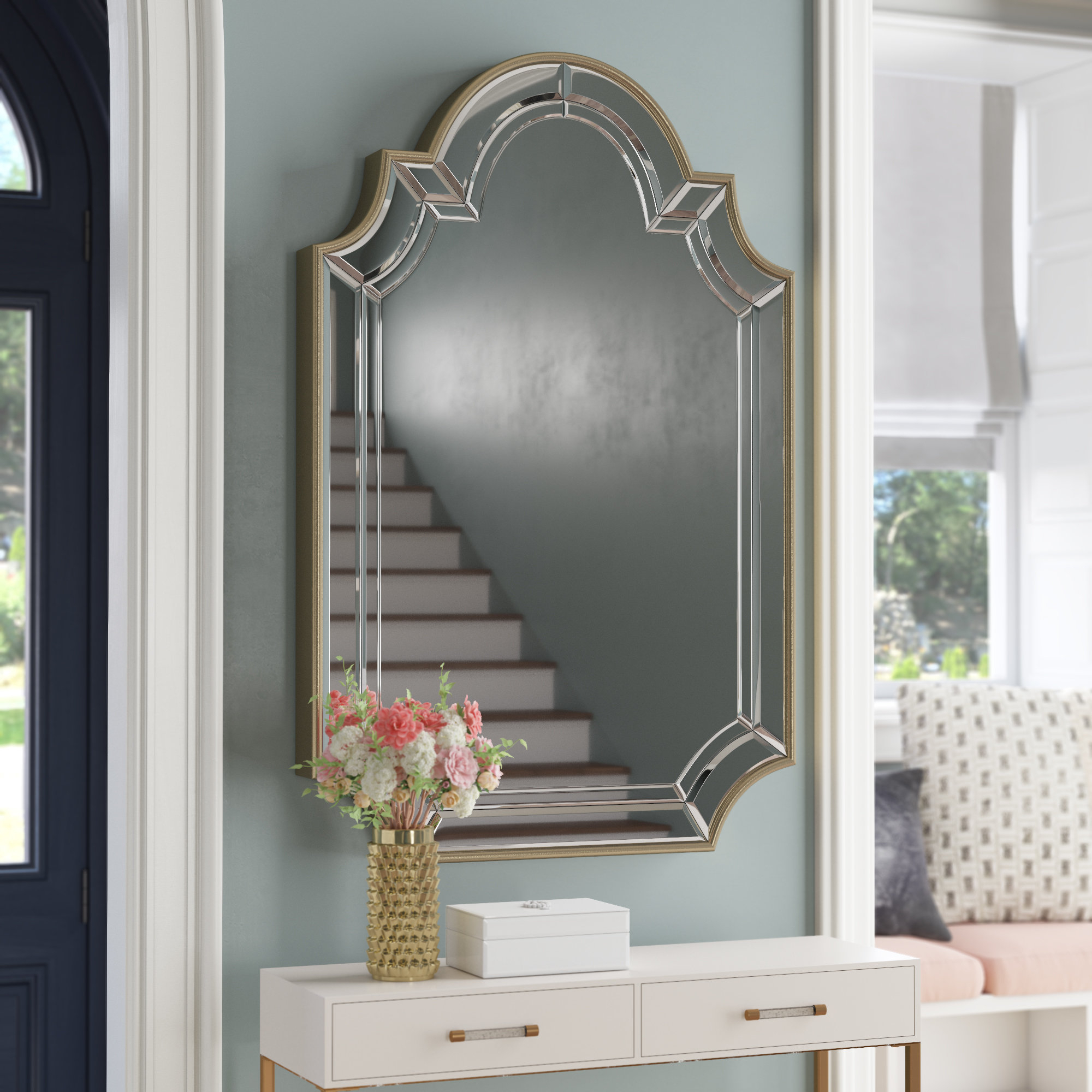 Arch/crowned Top Champagne Wall Mirror For Ekaterina Arch/crowned Top Wall Mirrors (View 15 of 30)