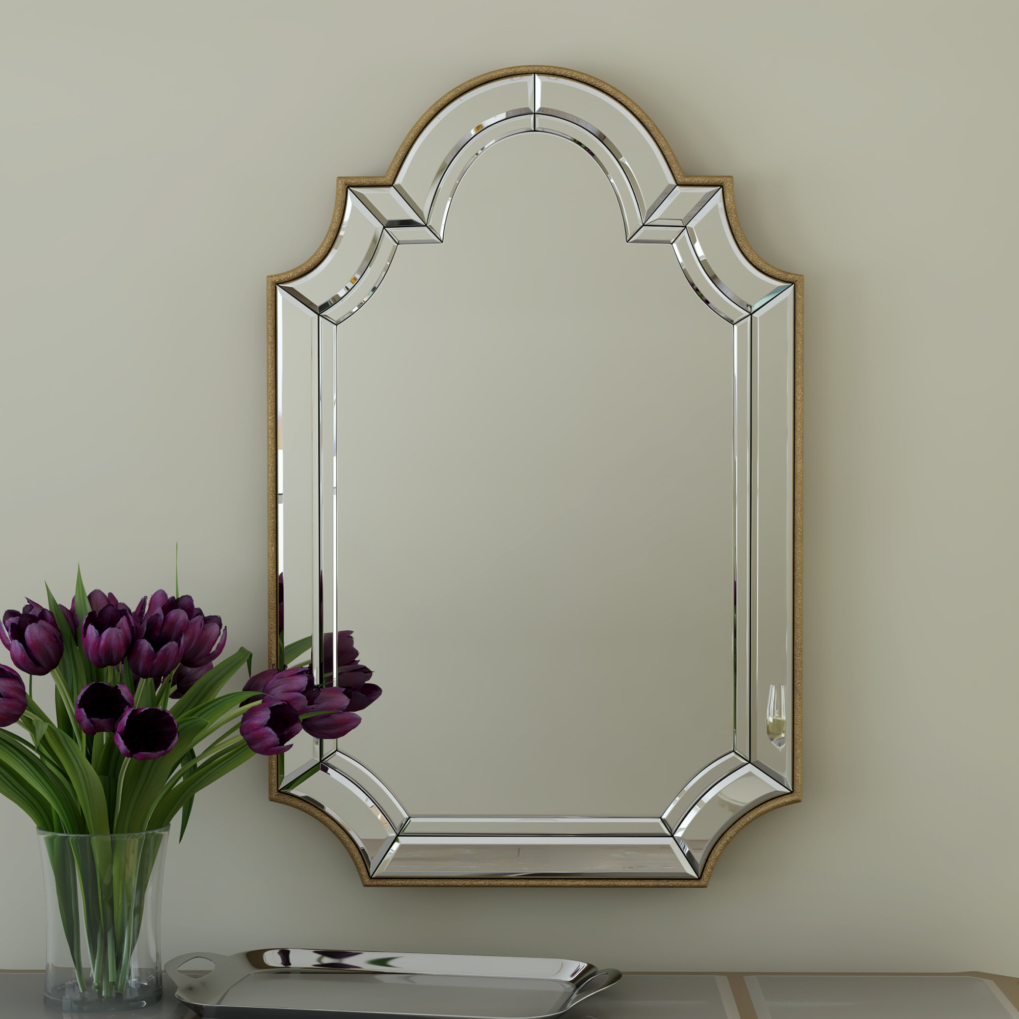 Arch/crowned Top Champagne Wall Mirror with Dariel Tall Arched Scalloped Wall Mirrors (Image 5 of 30)