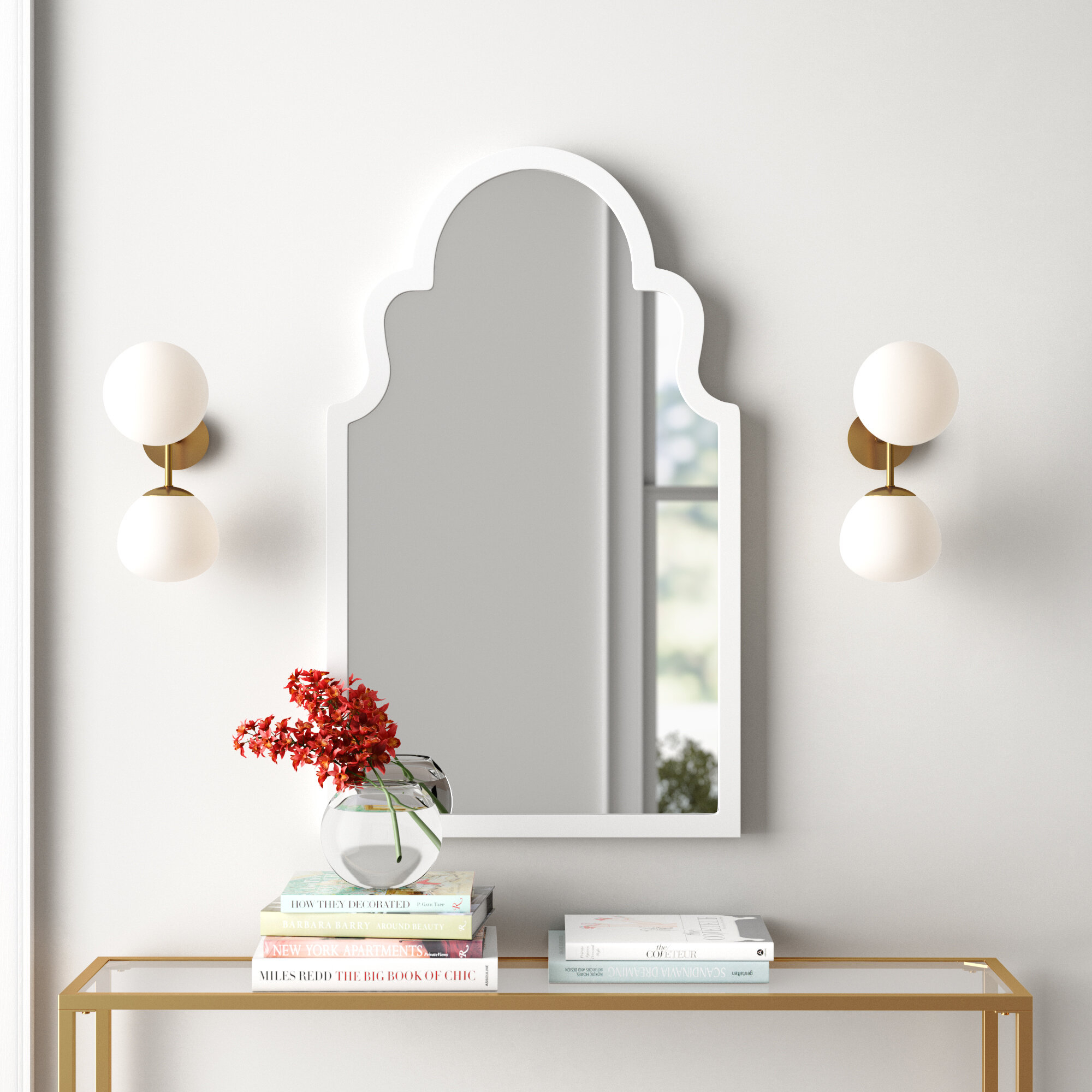 Arch Vertical Wall Mirror in Dariel Tall Arched Scalloped Wall Mirrors (Image 3 of 30)