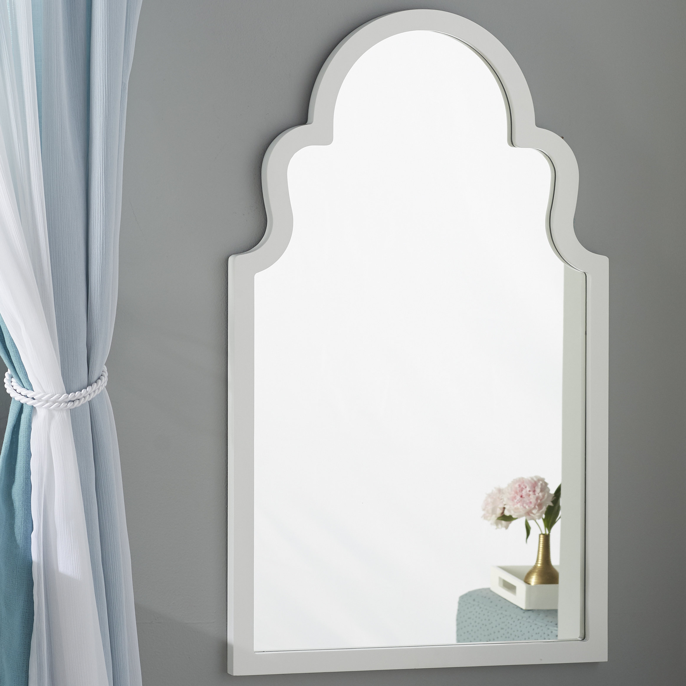 Arch Vertical Wall Mirror throughout Dariel Tall Arched Scalloped Wall Mirrors (Image 4 of 30)