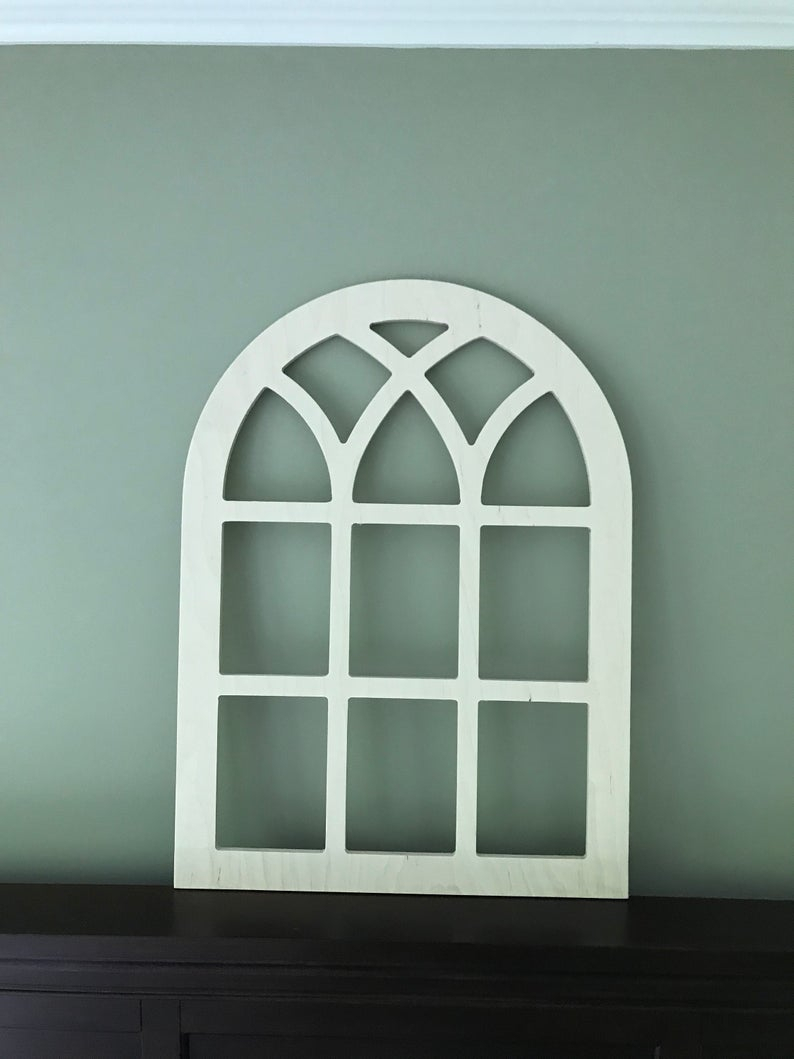 Arched Farmhouse Frame, Faux Window Frame, Arched, Stained, Custom Arch, Shabby Chic, Wall Hanging Wall Decor, Shutter, Vintage Inspired Throughout Faux Window Wood Wall Mirrors (View 18 of 30)